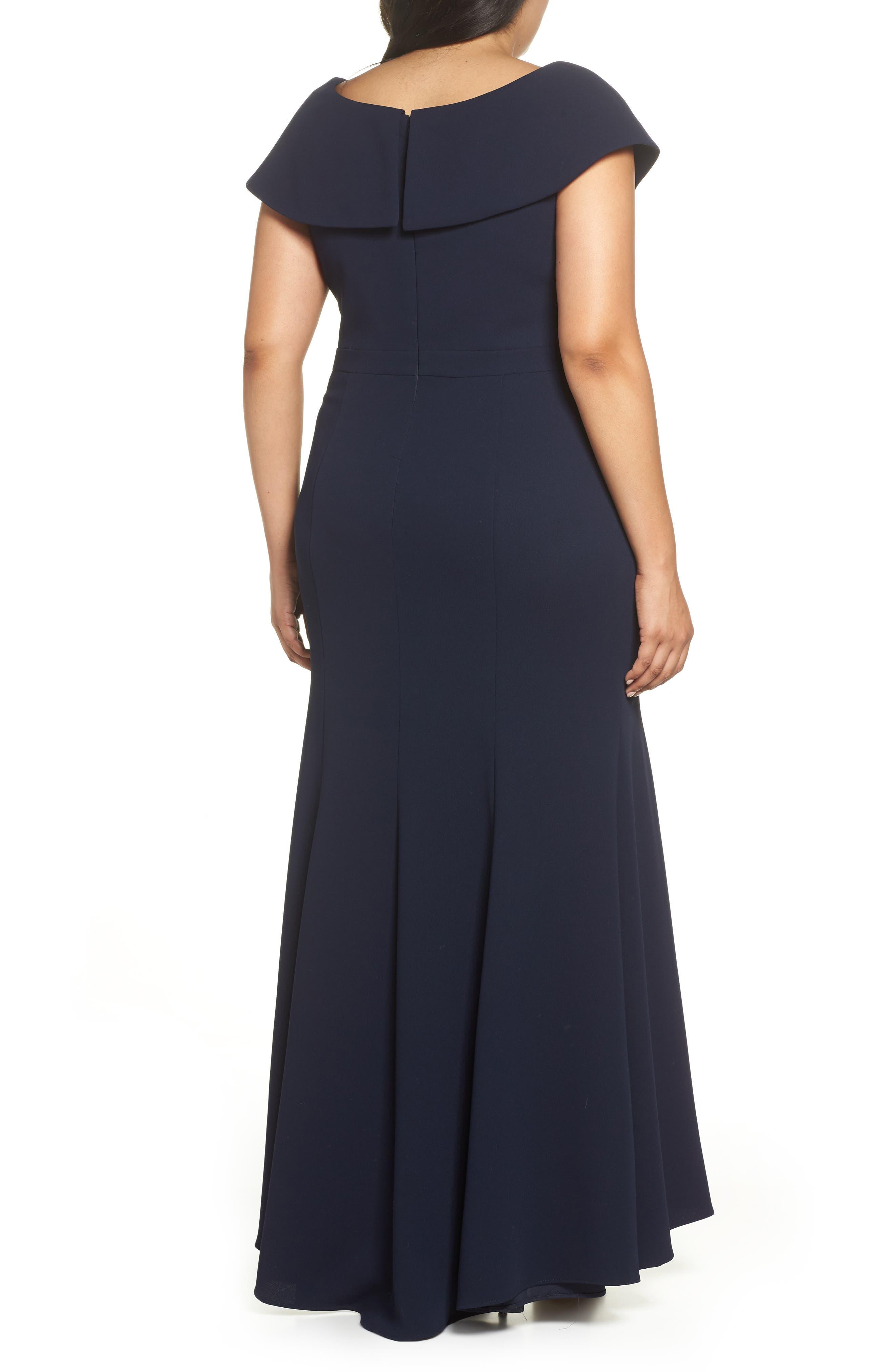 Foldover V-Neck Gown,                             Alternate thumbnail 2, color,                             NAVY