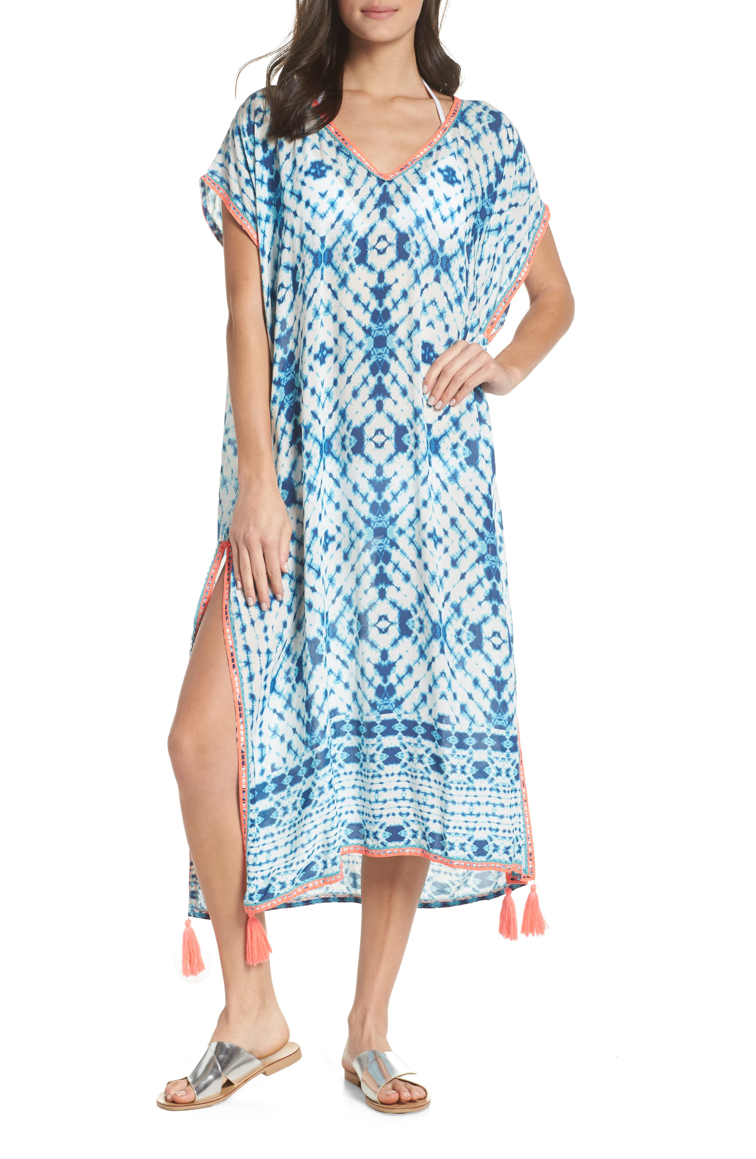 Tie Dye Cover-Up Caftan, Main, color, 400