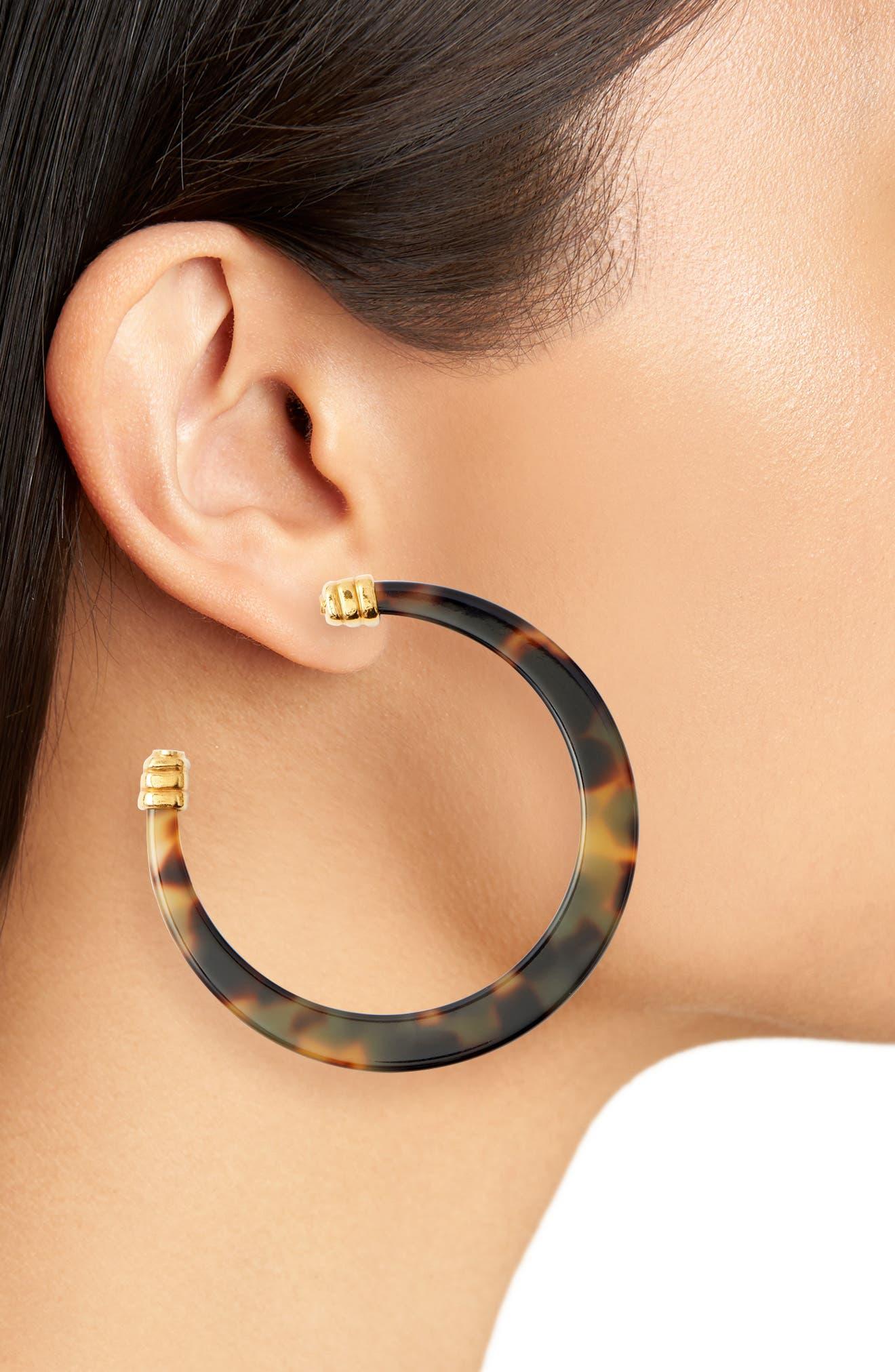 Tortoiseshell Open Hoop Earrings,                             Alternate thumbnail 2, color,                             TORTOISE
