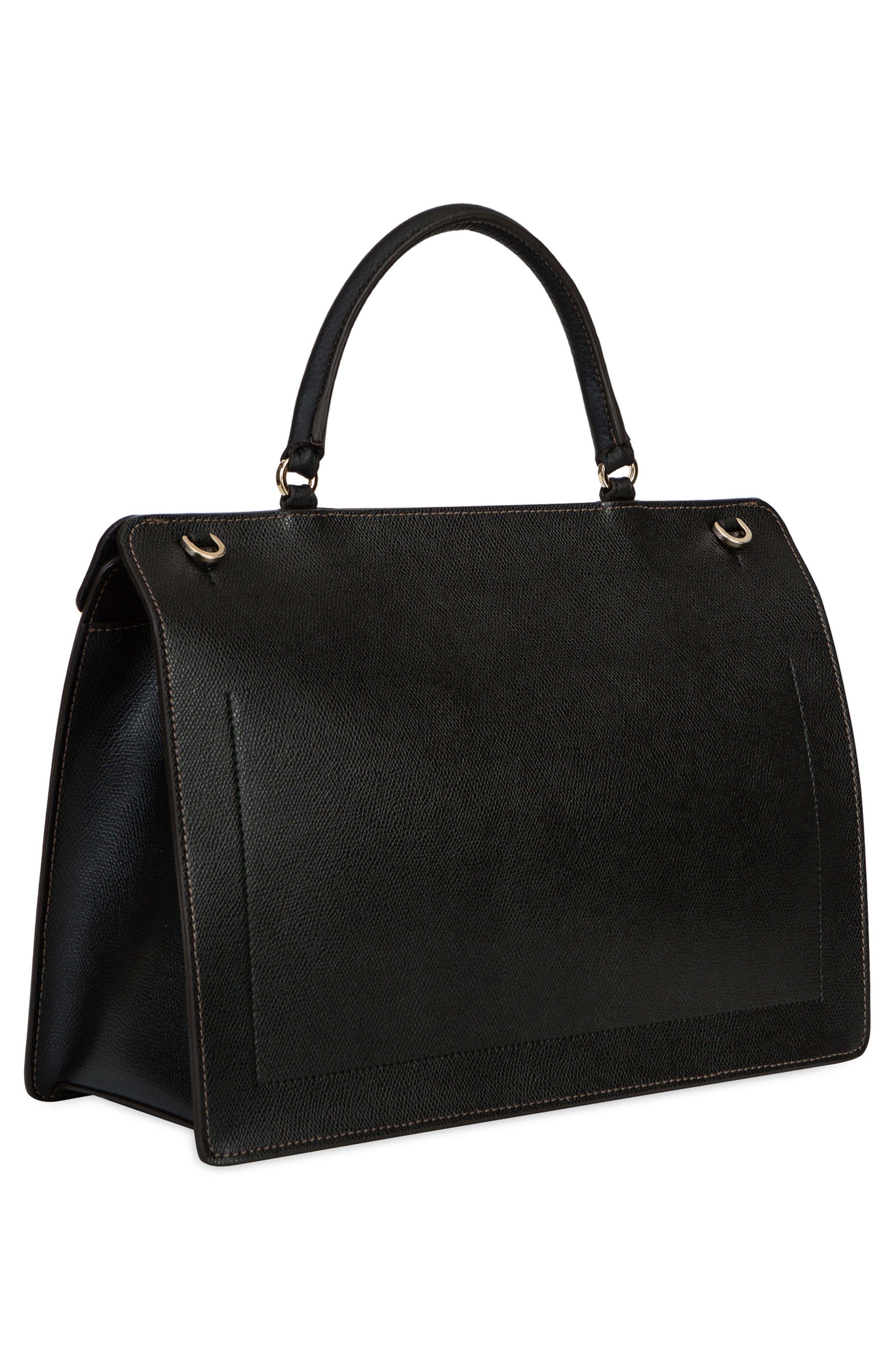 Small Like Leather Top Handle Convertible Satchel,                             Alternate thumbnail 3, color,                             001