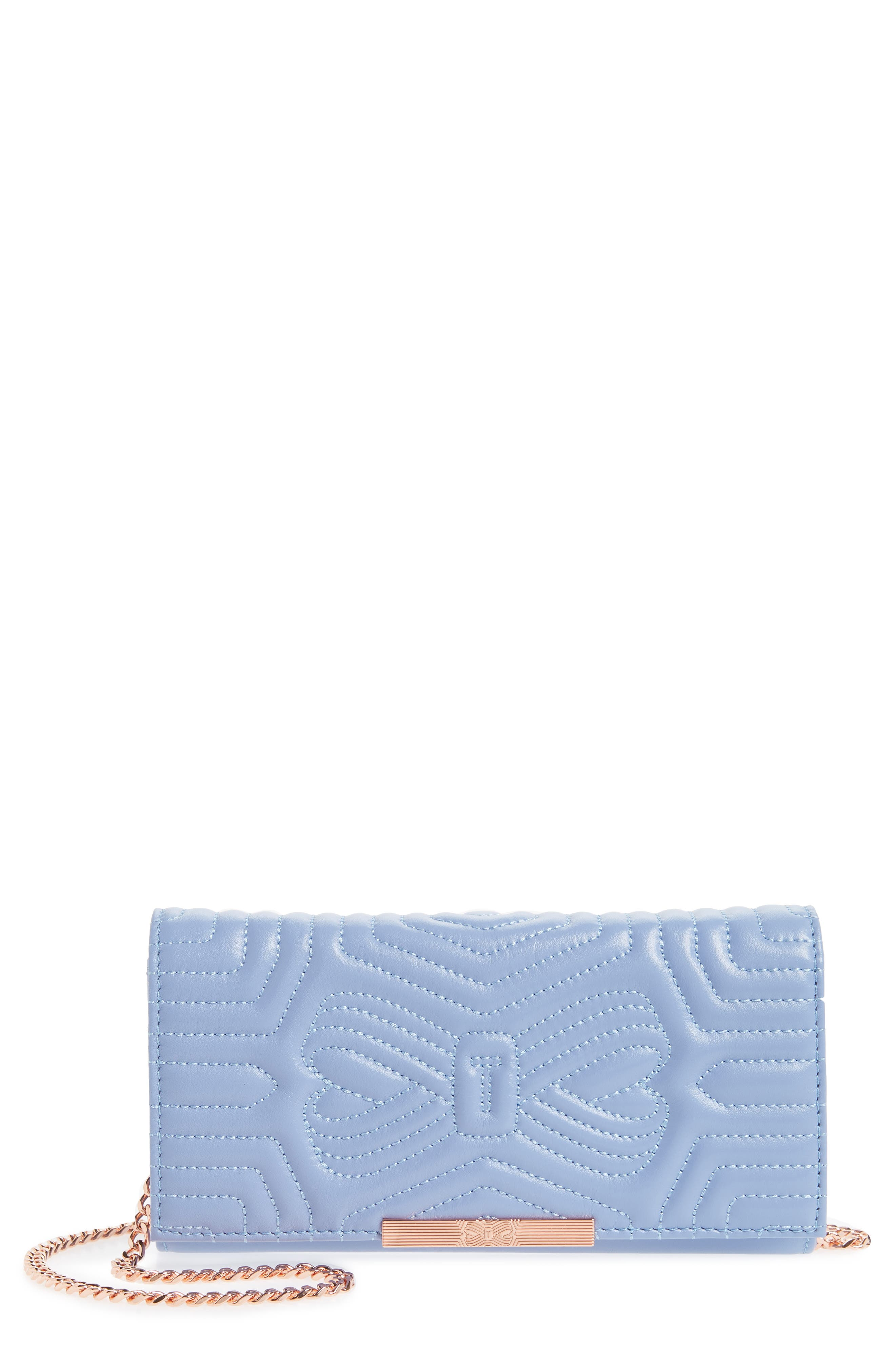 Quilted Bow Leather Matinée Wallet,                             Main thumbnail 1, color,                             BLUE