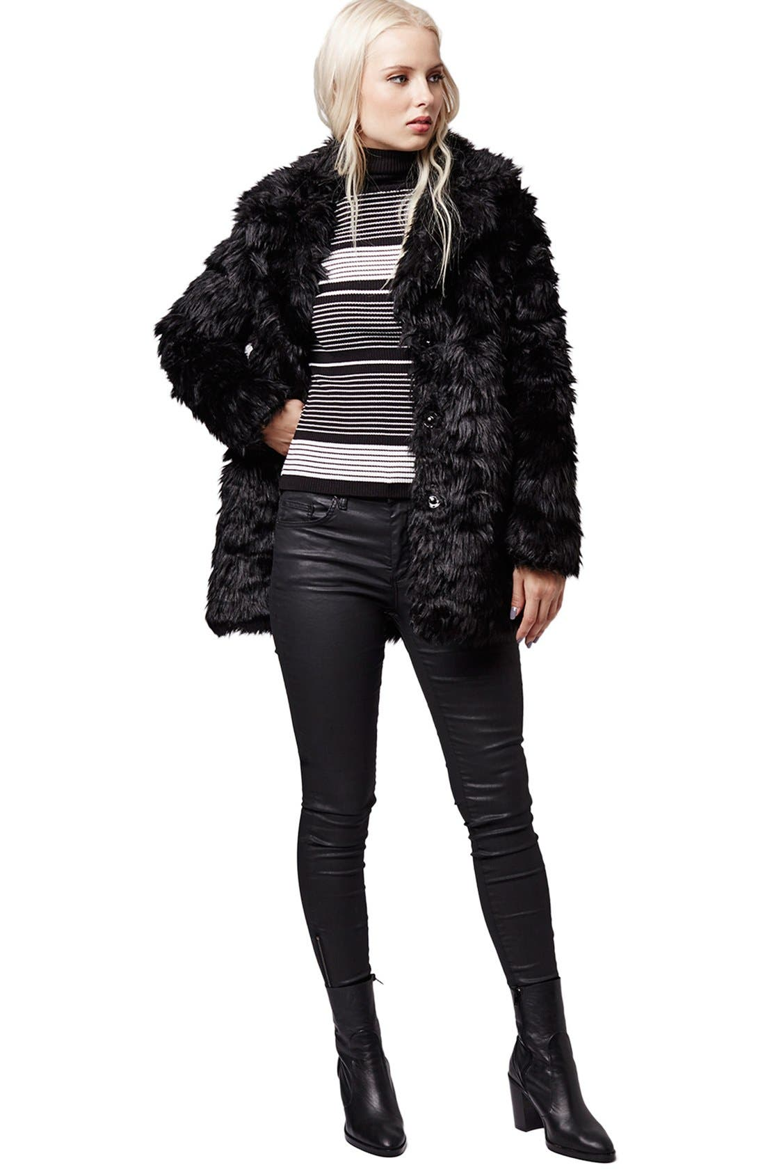 Urban Shaggy Faux Fur Coat,                             Alternate thumbnail 5, color,                             001