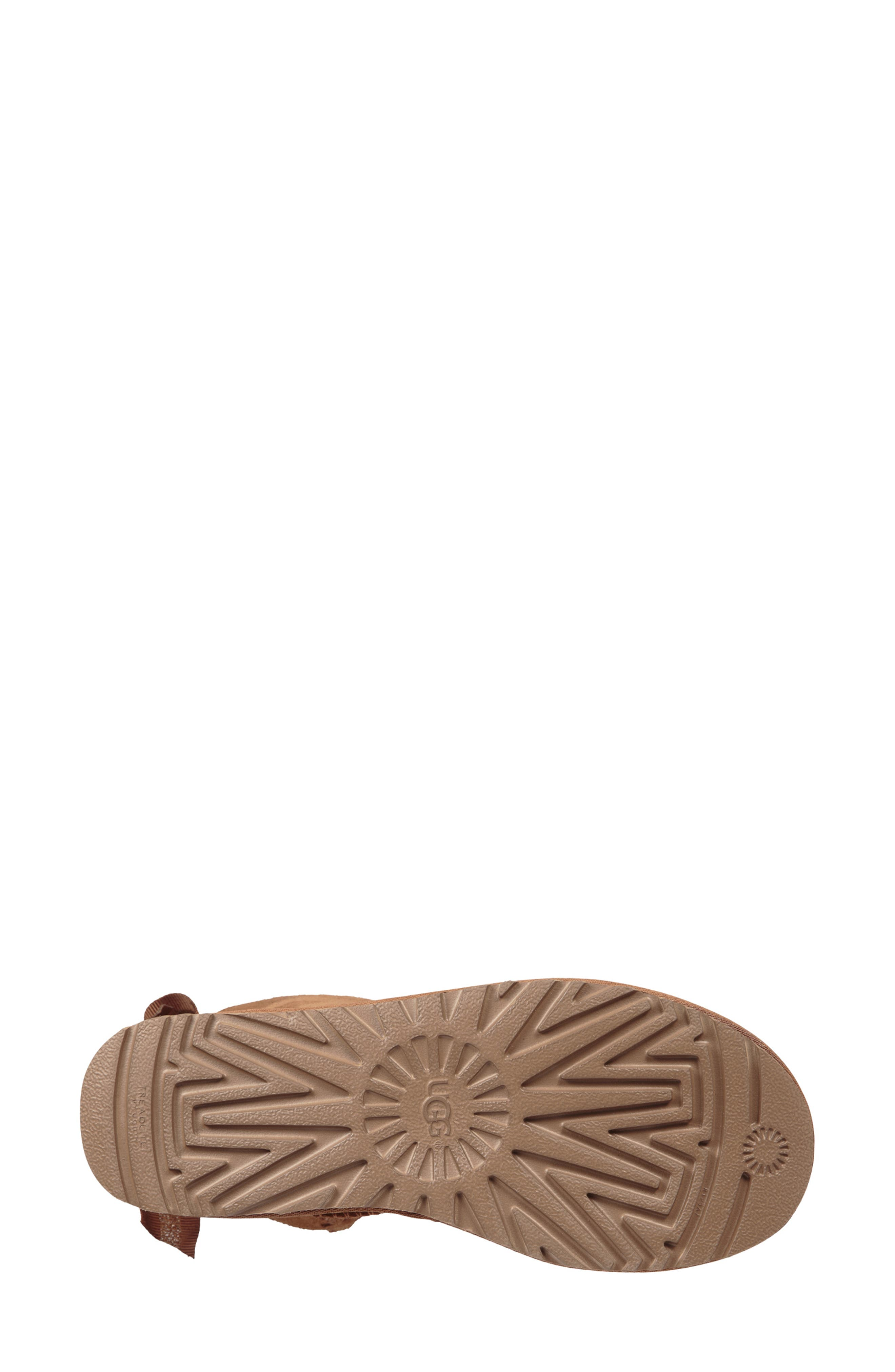 Customizable Bailey Bow Mini Genuine Shearling Bootie,                             Alternate thumbnail 5, color,                             CHESTNUT SUEDE