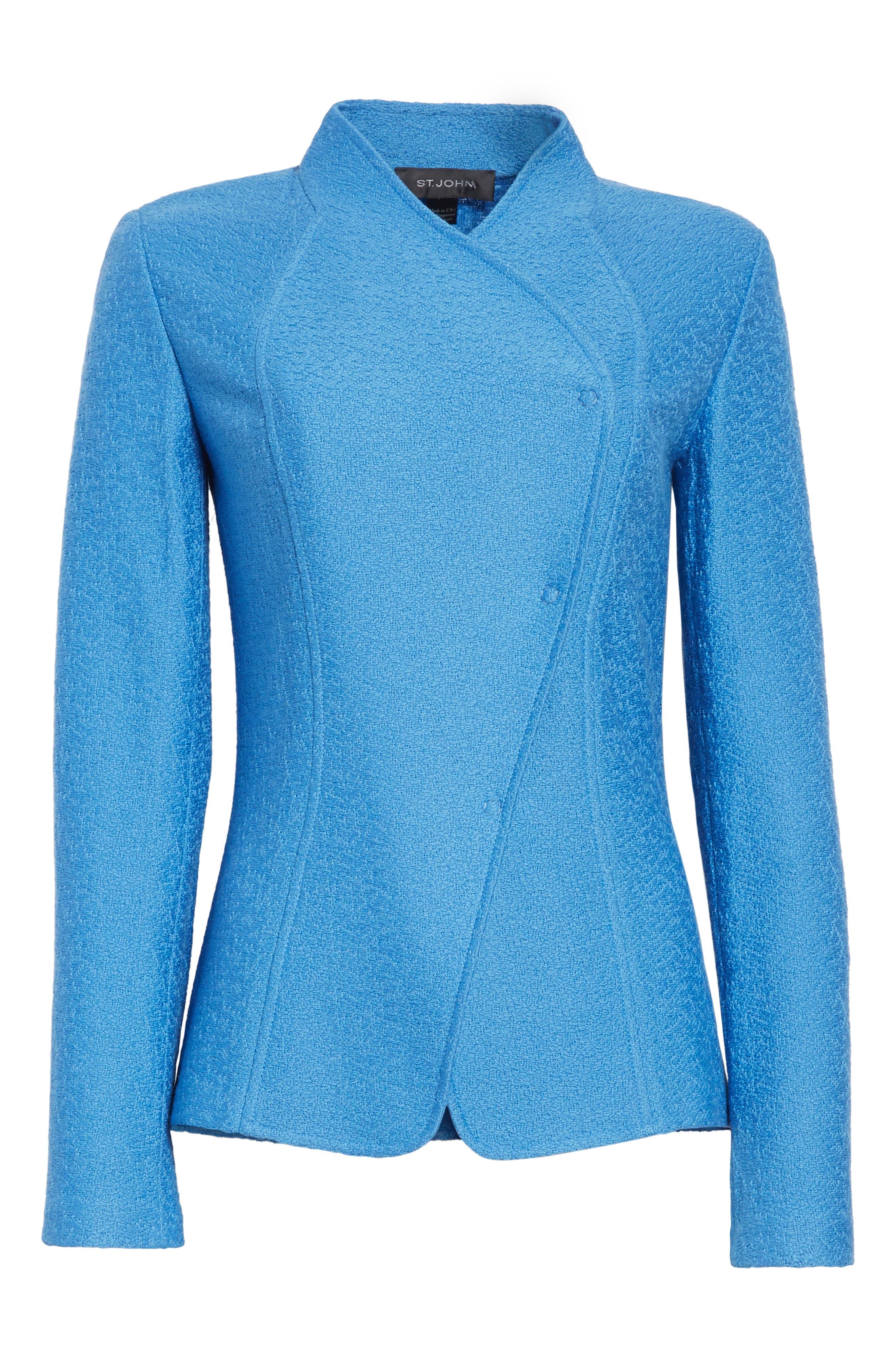 Hannah Knit Stand Collar Jacket,                             Alternate thumbnail 5, color,                             420