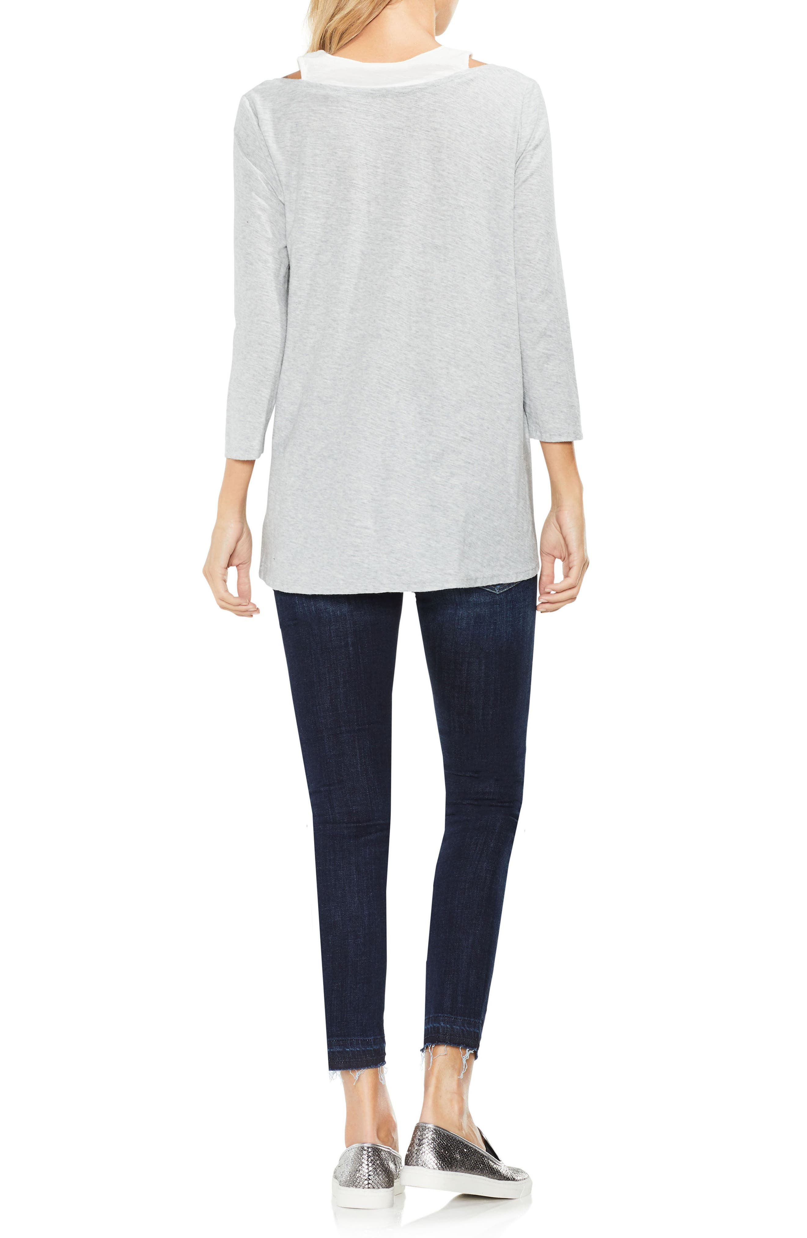 Two by Vince Camuto Layered Top,                             Alternate thumbnail 3, color,                             050
