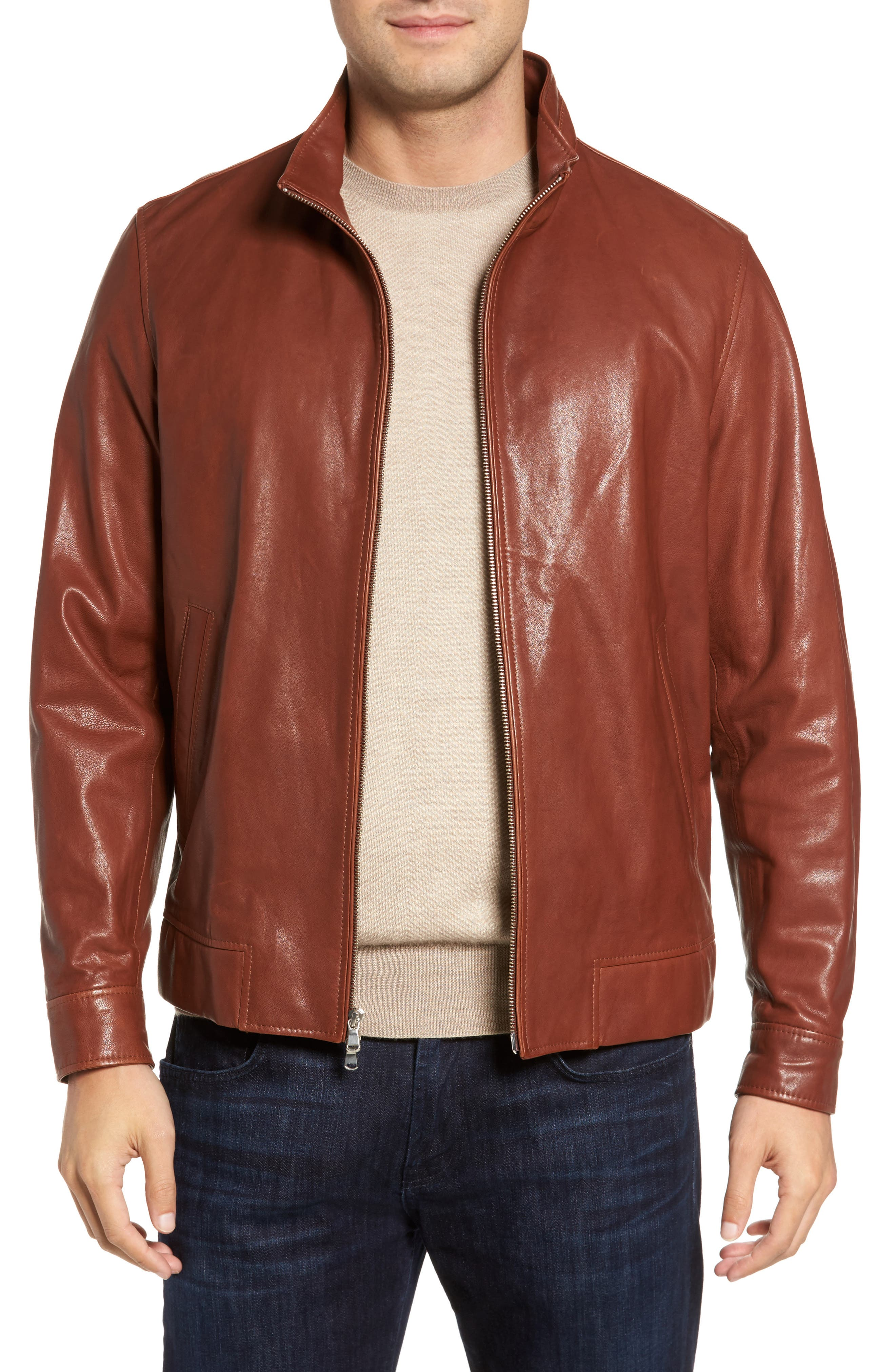 Classic Leather Bomber Jacket,                         Main,                         color,