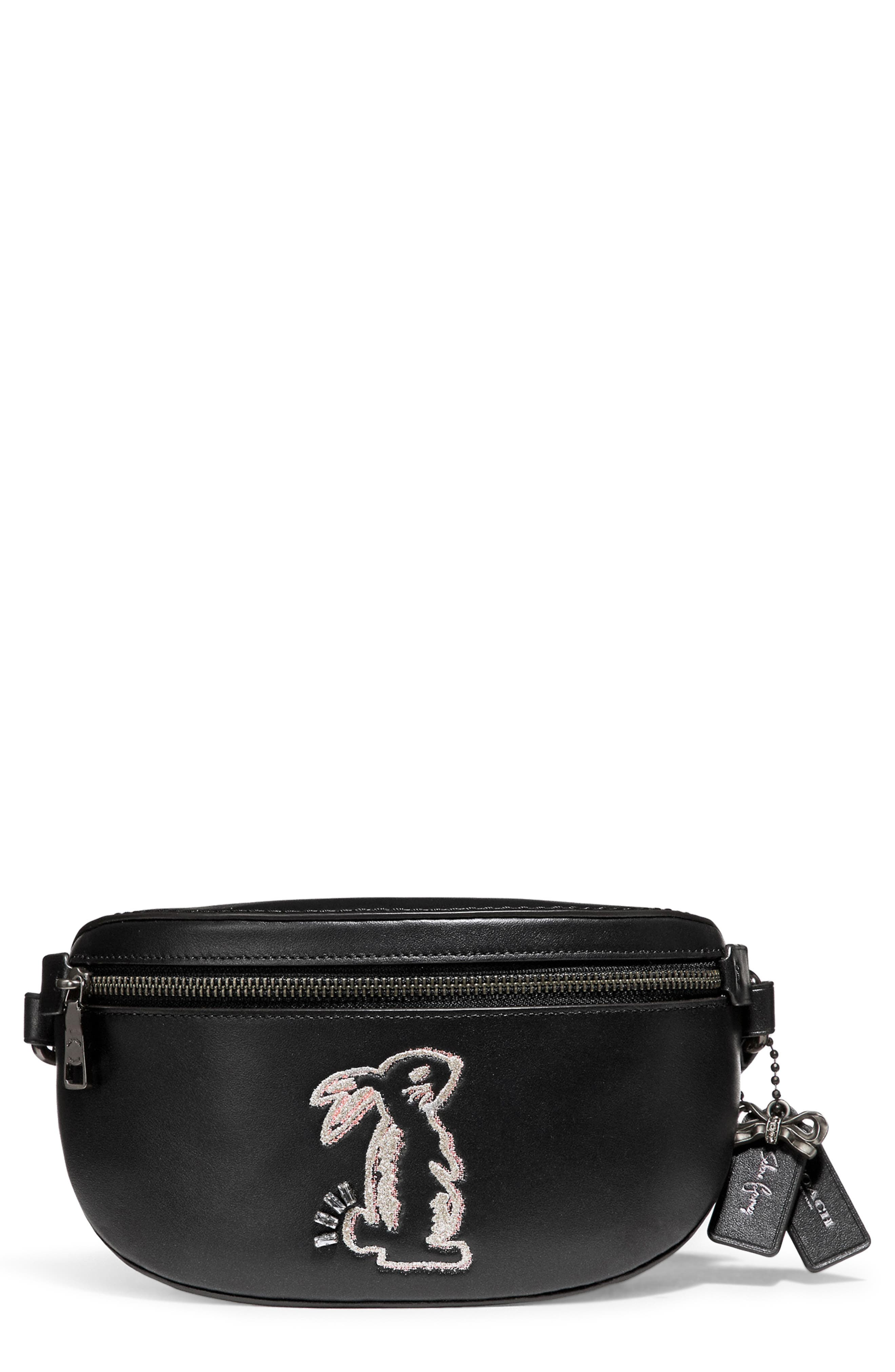 Selena Bunny Belt Bag,                         Main,                         color, BLACK