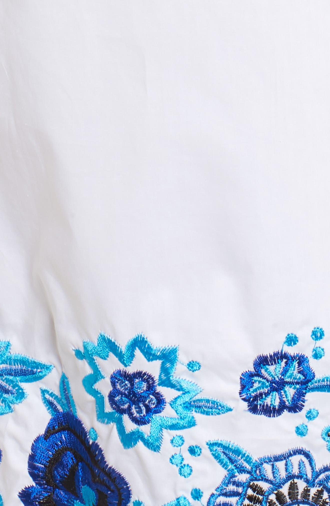 Jace Embroidered Off the Shoulder Shift Dress,                             Alternate thumbnail 5, color,                             100
