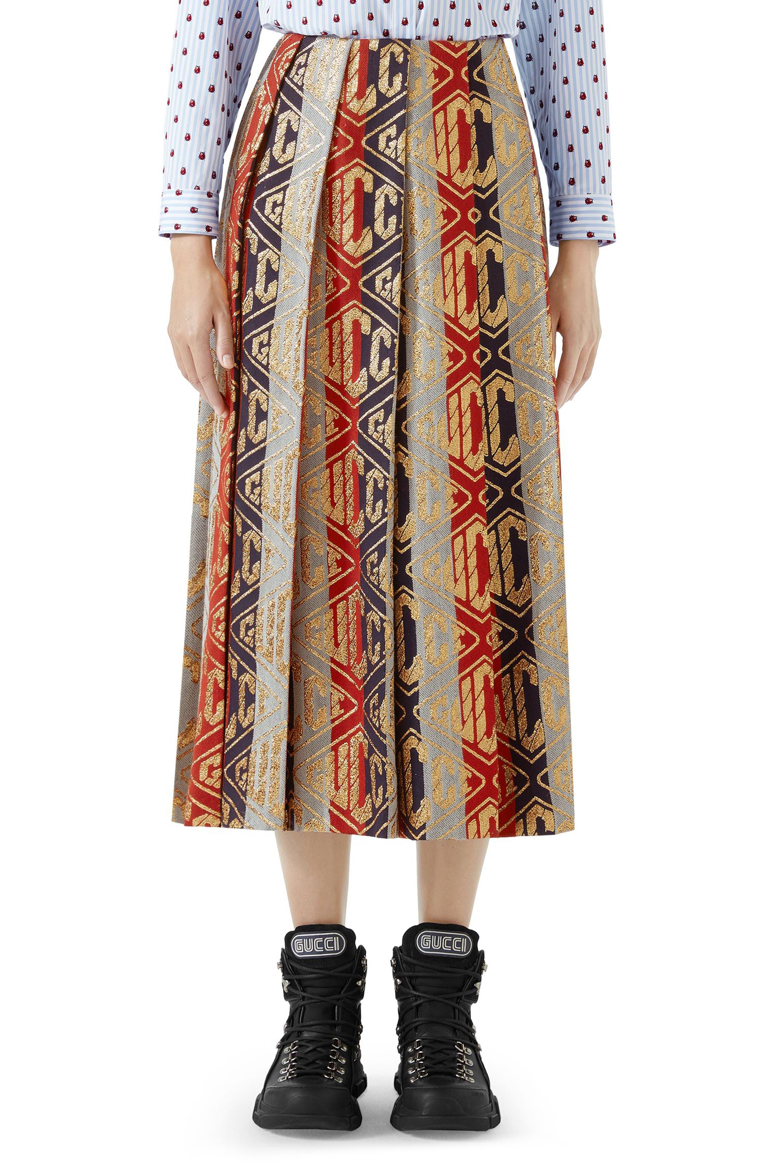 GUCCI,                             Metallic Logo Pleated Wool Blend Skirt,                             Main thumbnail 1, color,                             SYLVIE LUREX