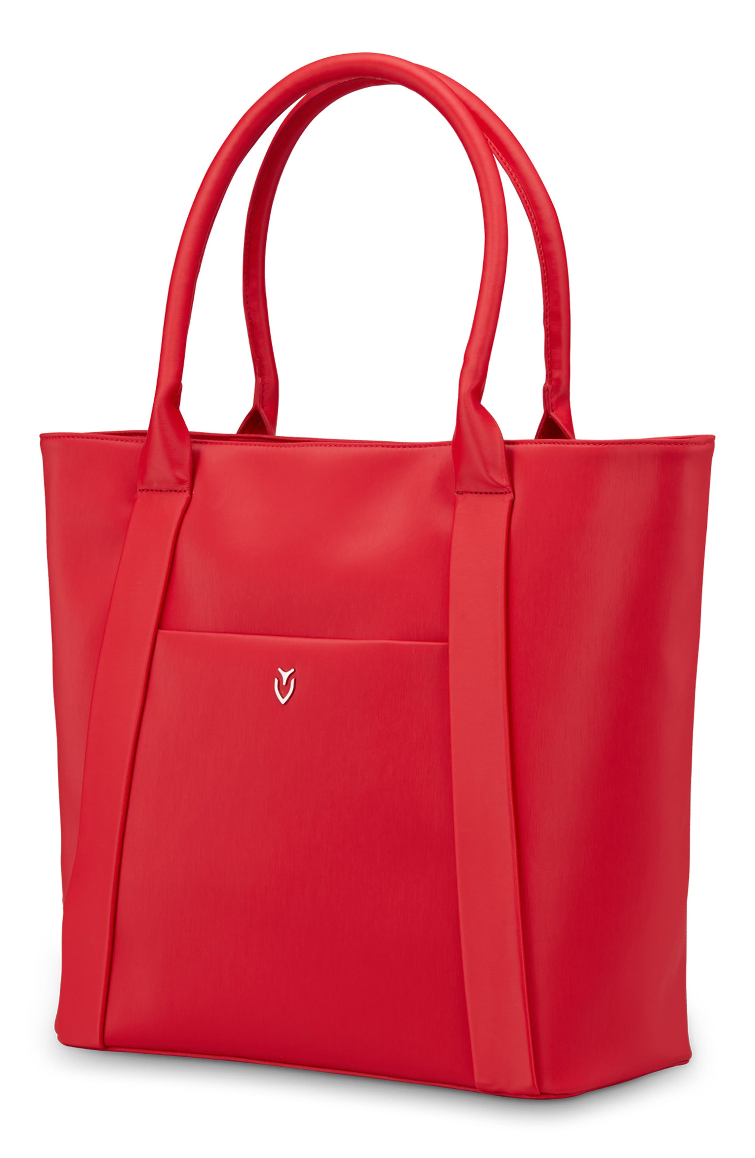 Signature 2.0 Large Faux Leather Tote Bag,                             Alternate thumbnail 3, color,                             PEBBLED RED