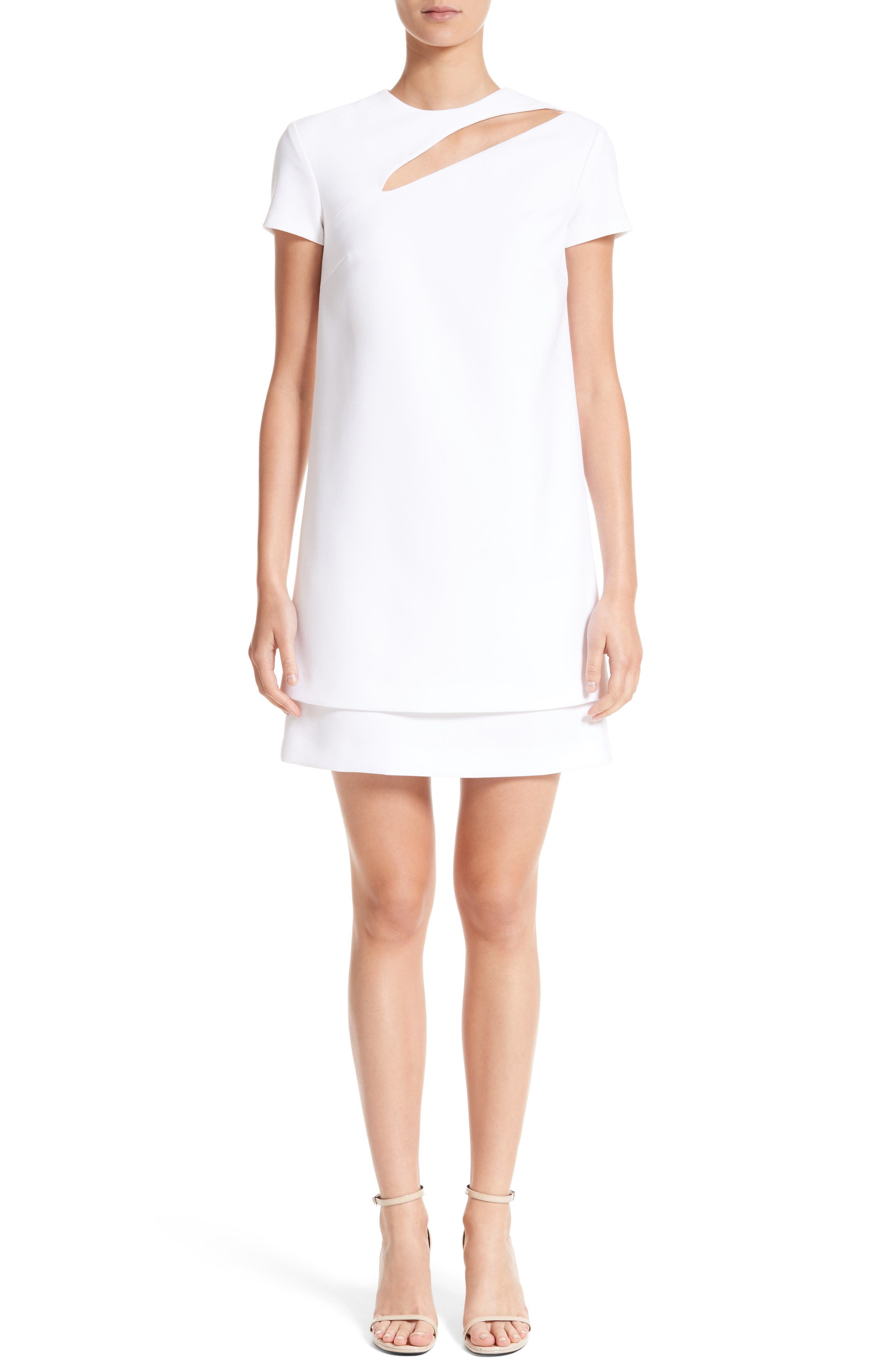 Cutout Stretch Cady Dress,                             Main thumbnail 1, color,                             111