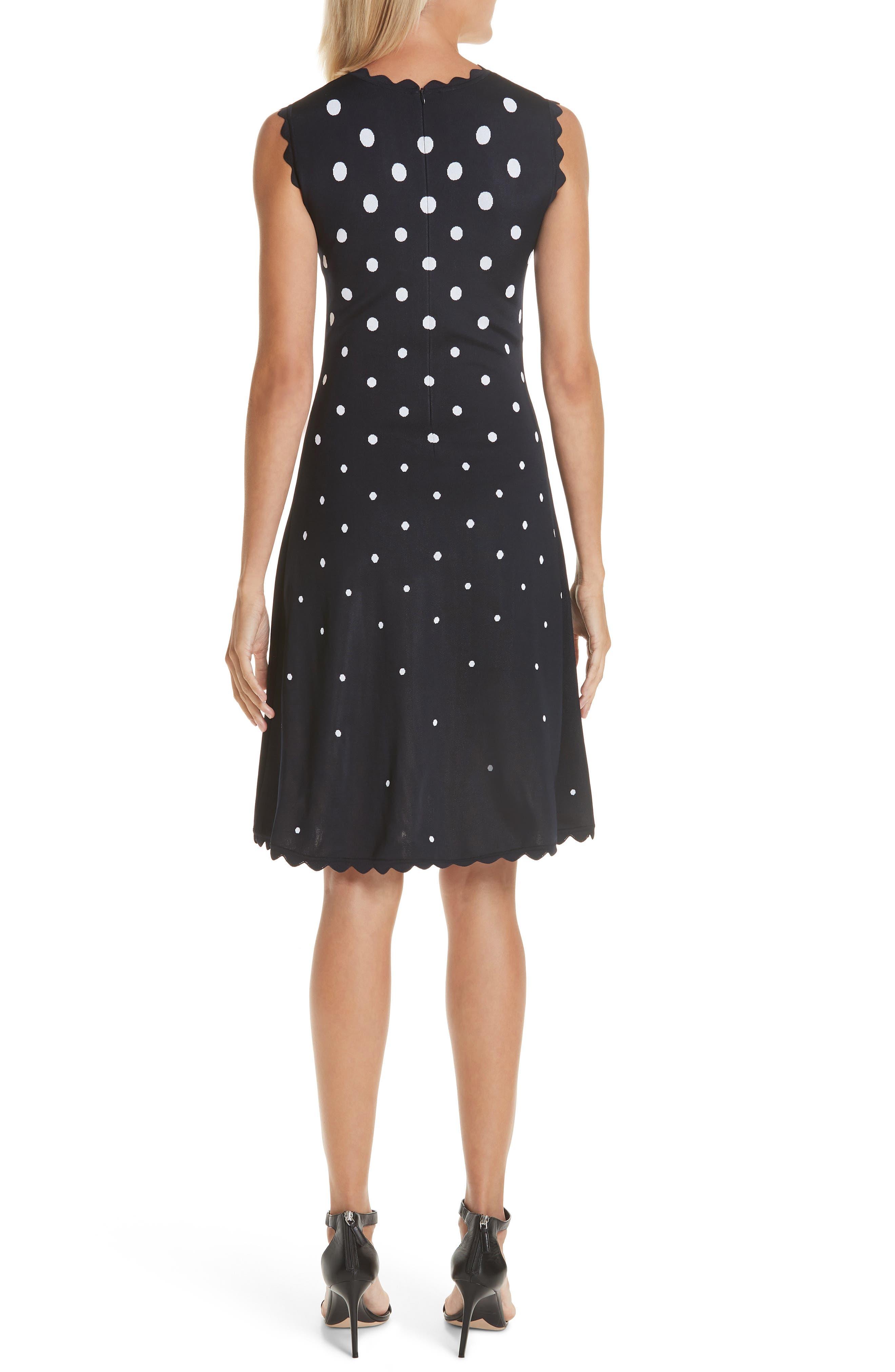 Scallop Edge Polka Dot A-Line Dress,                             Alternate thumbnail 2, color,                             NVW-NAVY/ WHITE