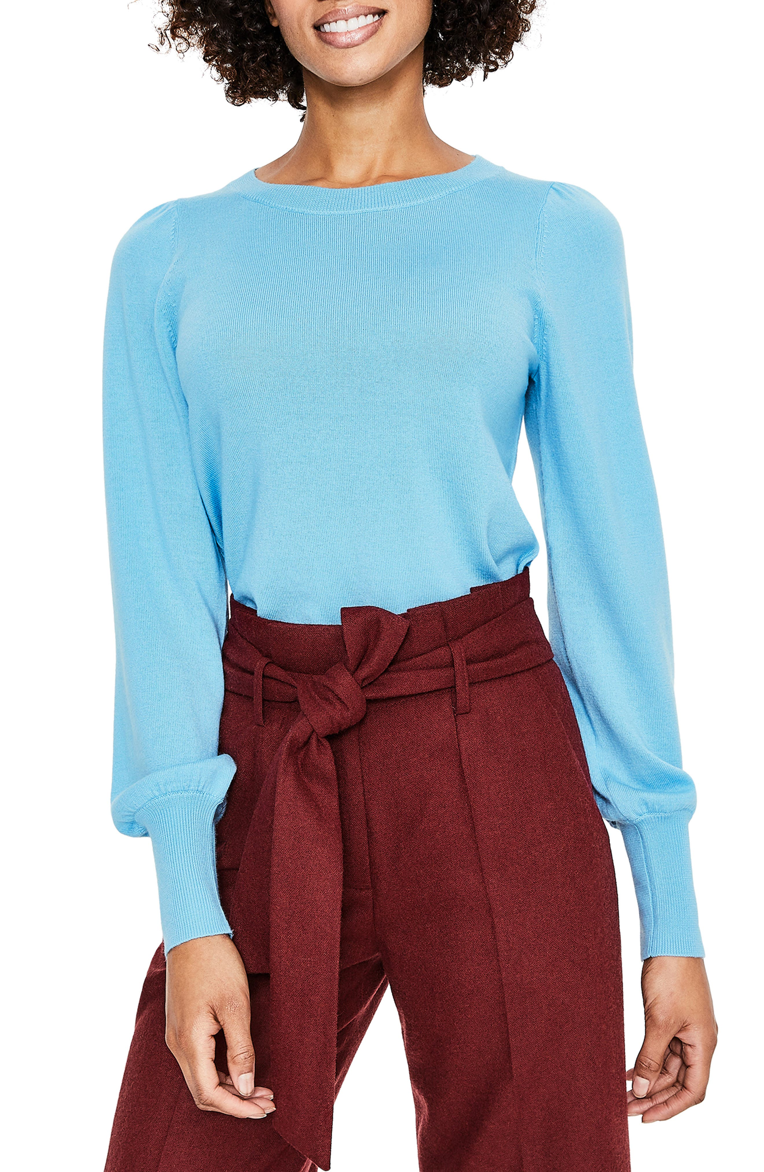 Antonia Wool & Cotton Sweater, Main, color, HERON BLUE