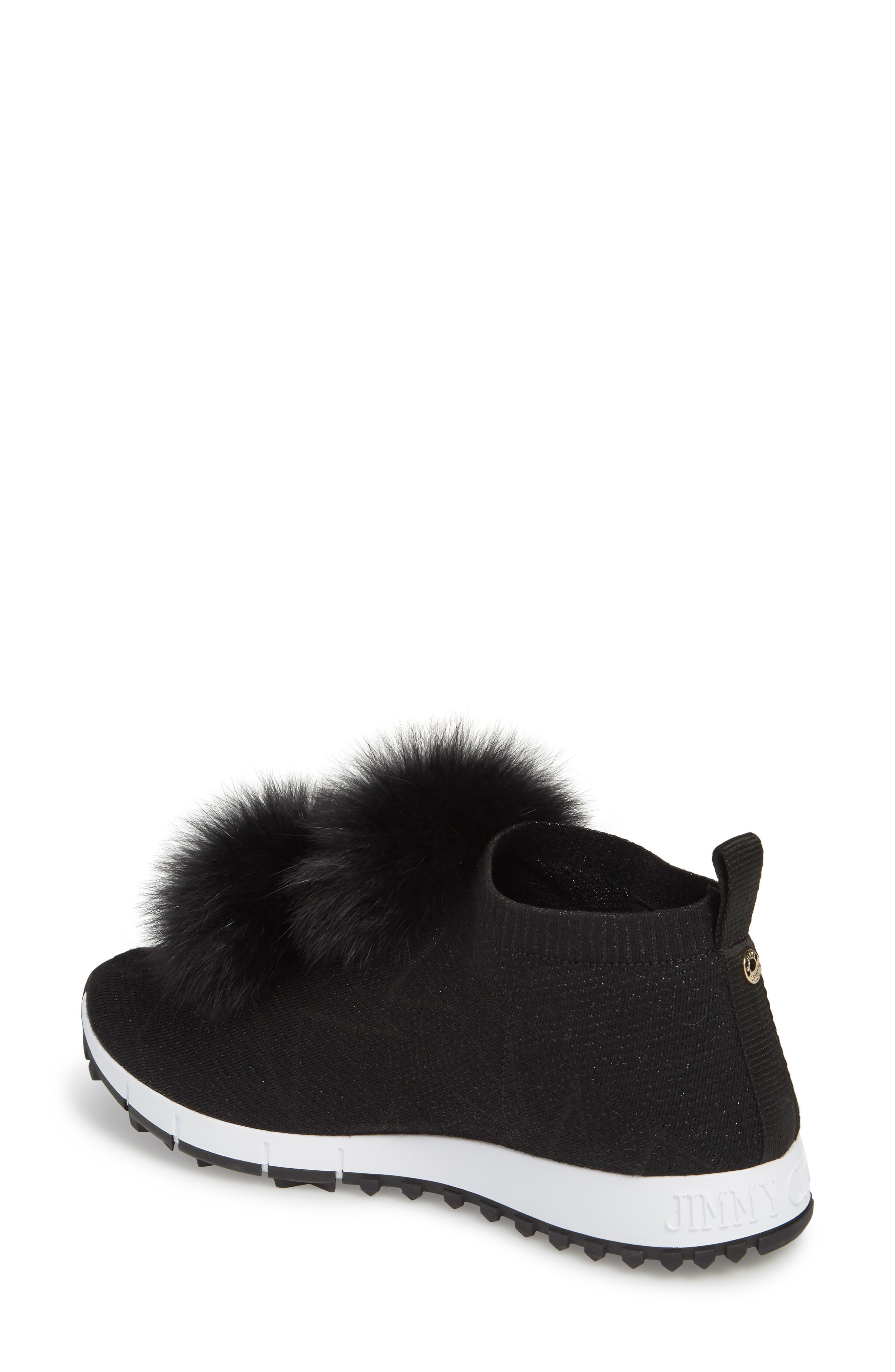 Genuine Fox Fur Sock Sneaker,                             Alternate thumbnail 2, color,                             BLACK