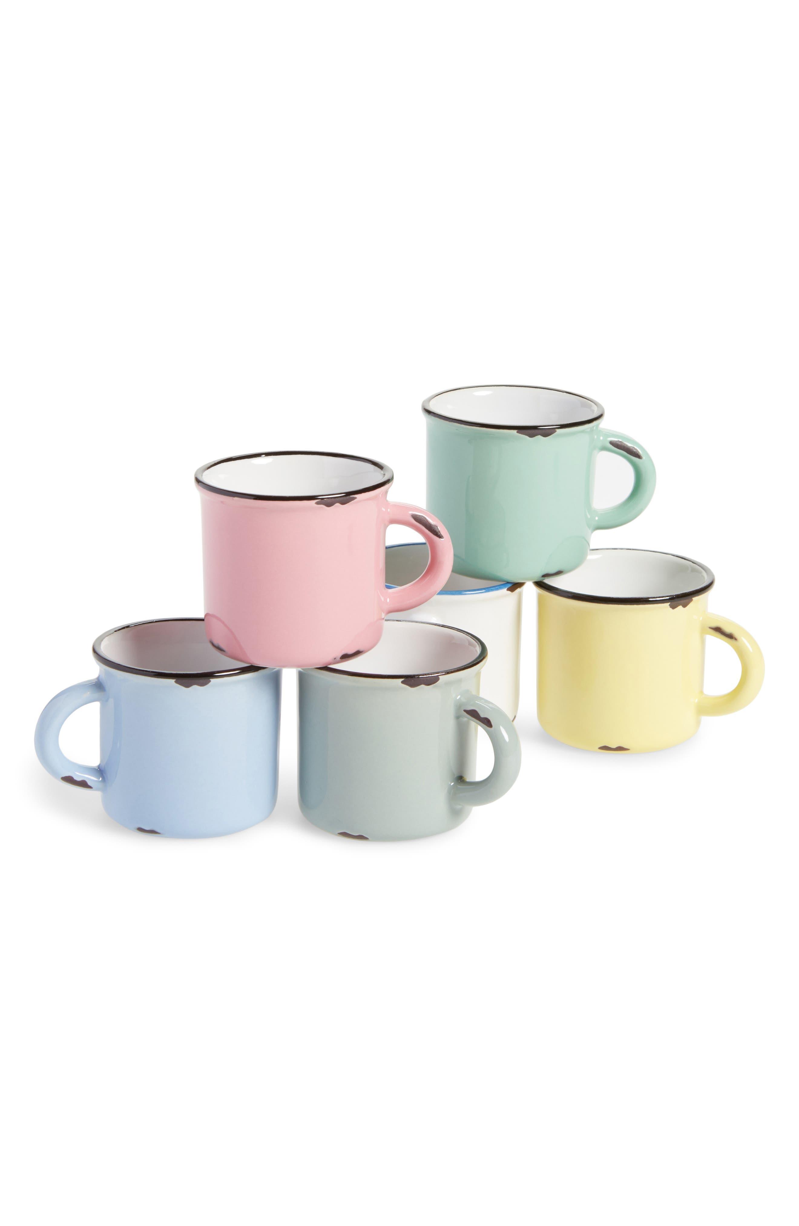 6-Piece Stoneware Espresso Mug Set,                         Main,                         color, 100