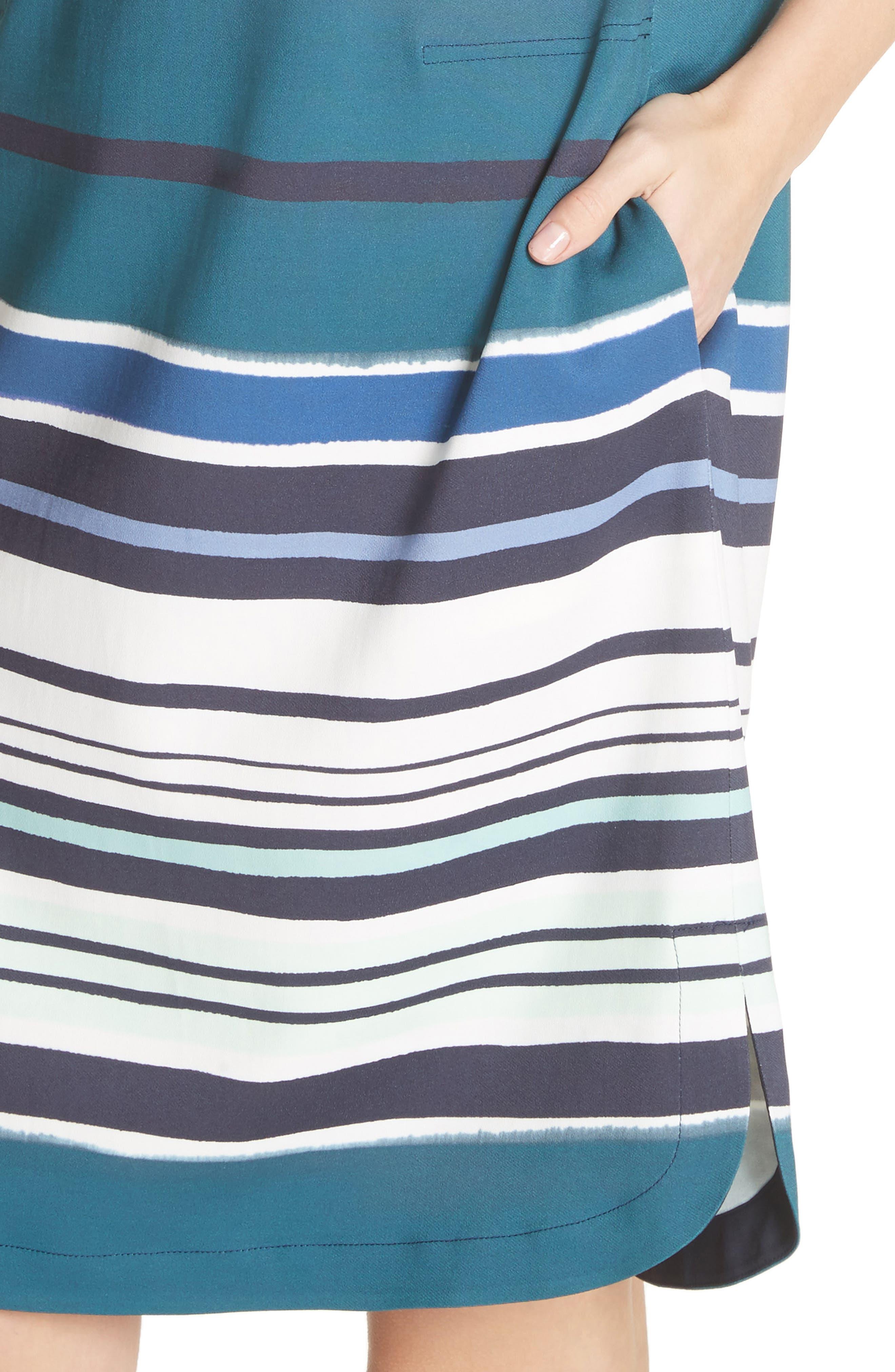 Lydia Stripe Dress,                             Alternate thumbnail 4, color,                             438