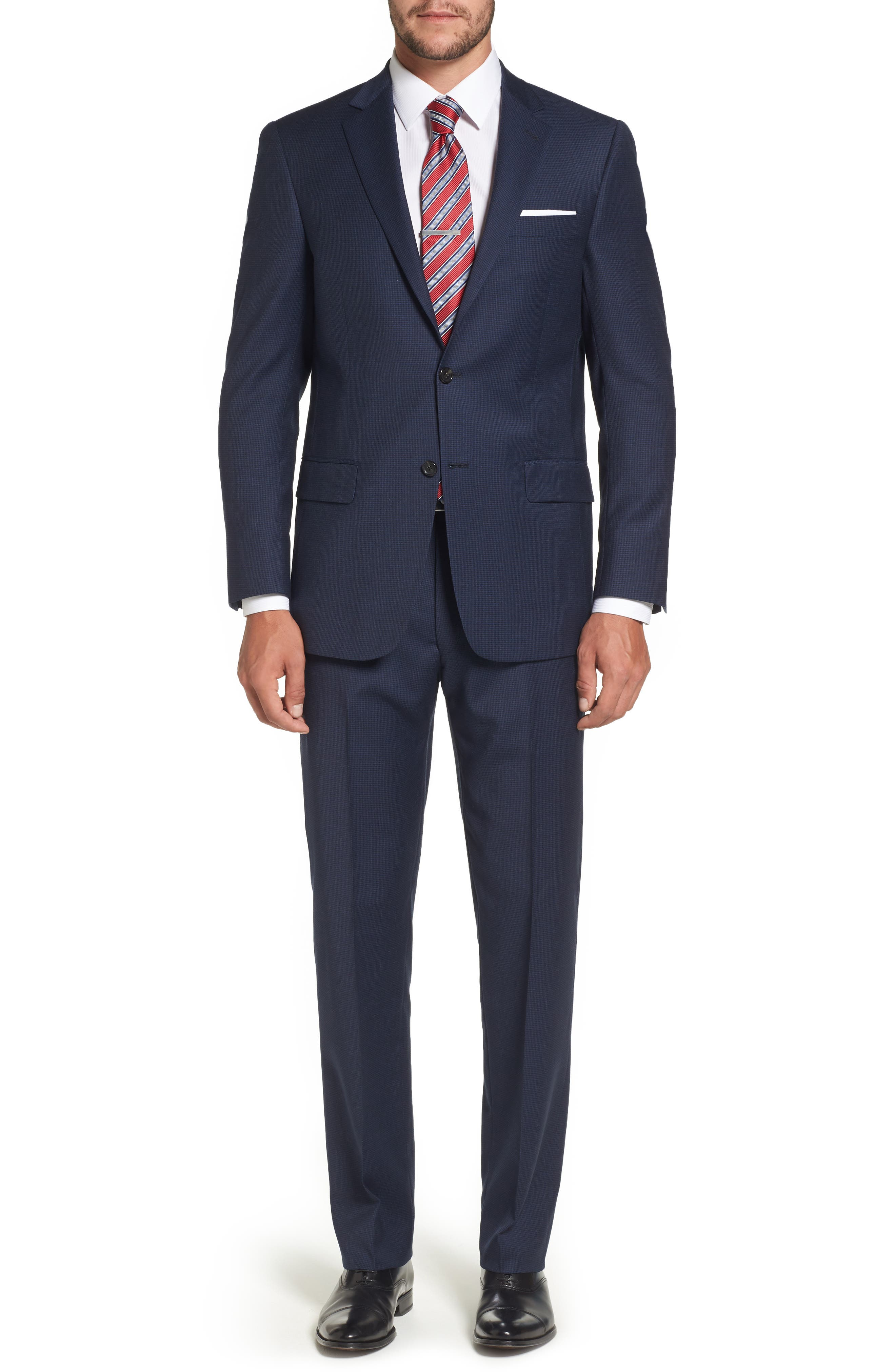 Classic Fit Check Stretch Wool Suit,                         Main,                         color, 401