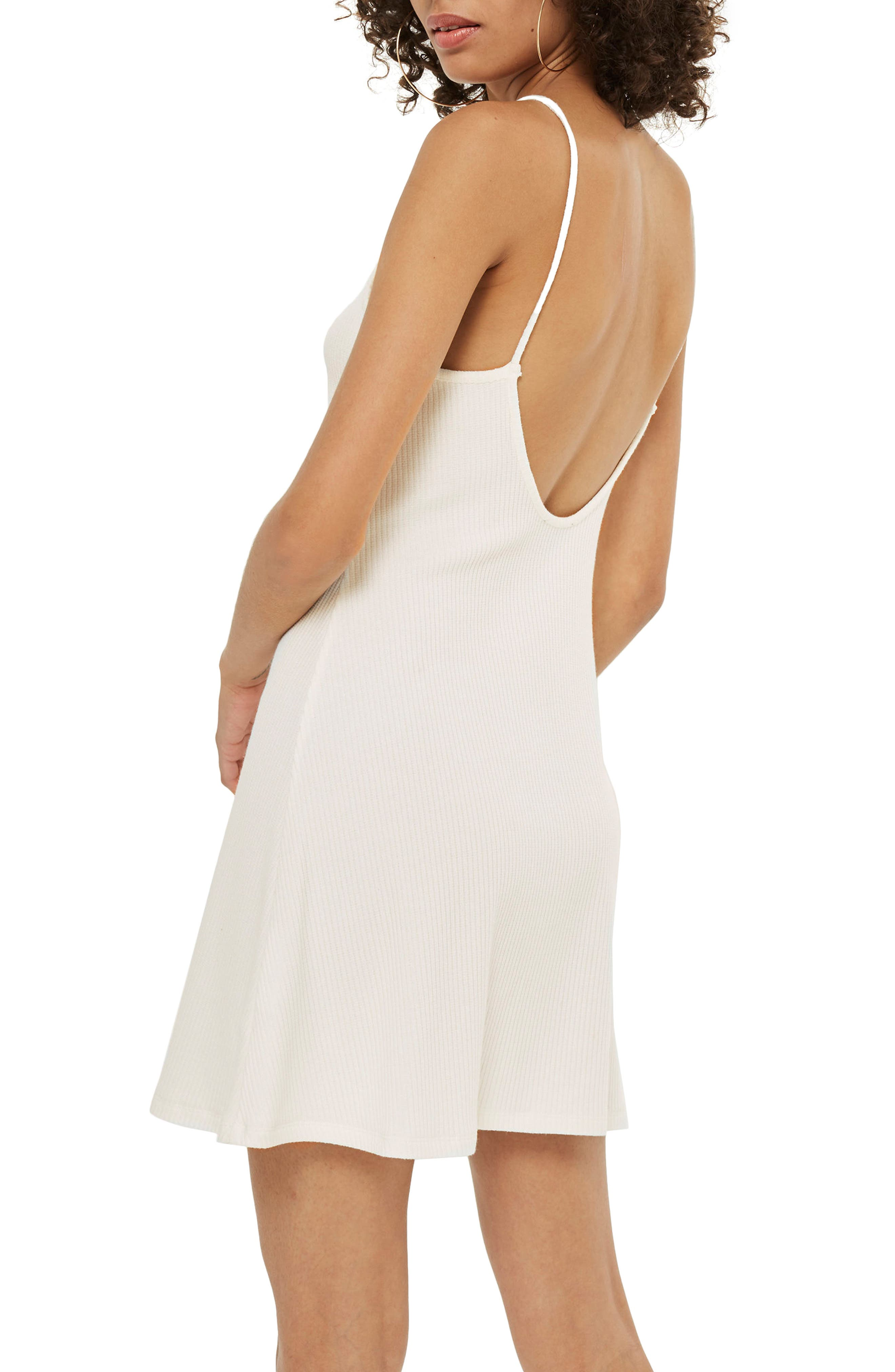 Scoop Back Ribbed Minidress,                             Alternate thumbnail 4, color,