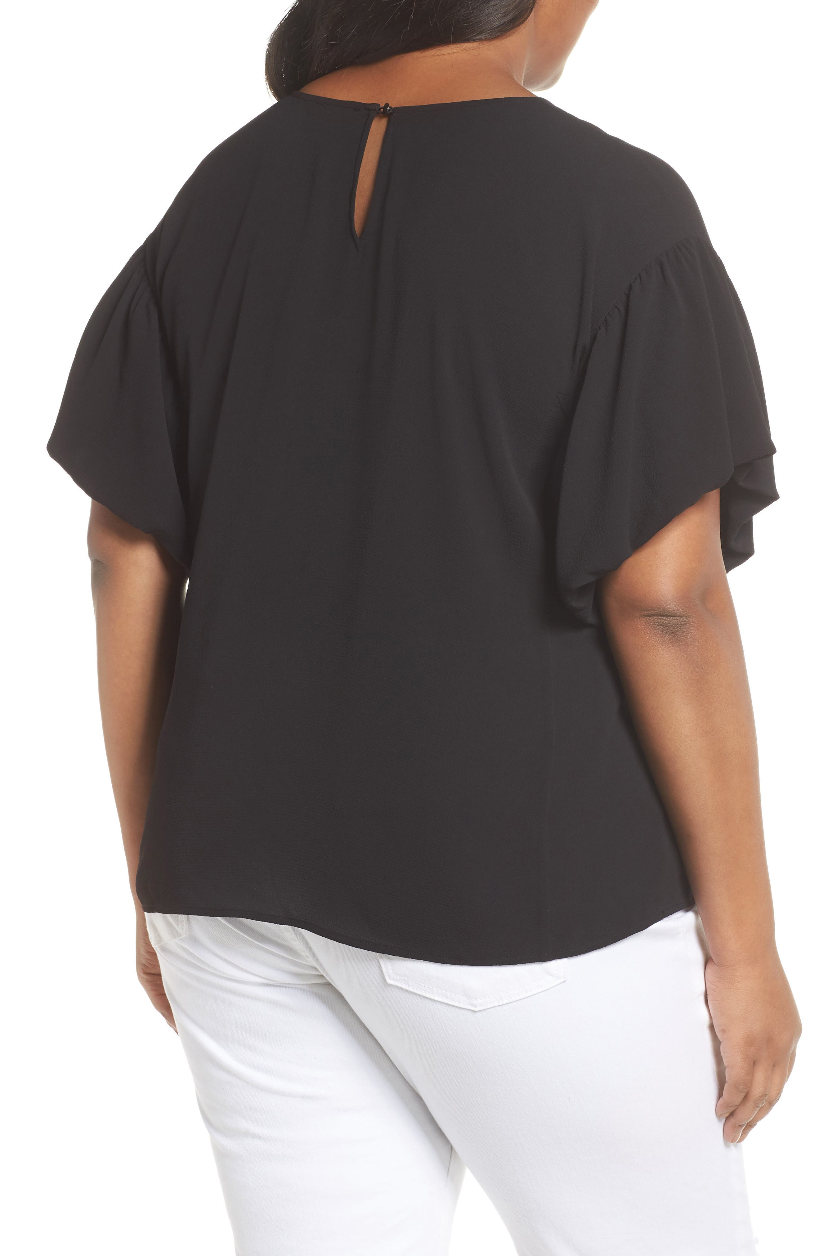 Bubble Sleeve Blouse,                             Alternate thumbnail 2, color,                             RICH BLACK