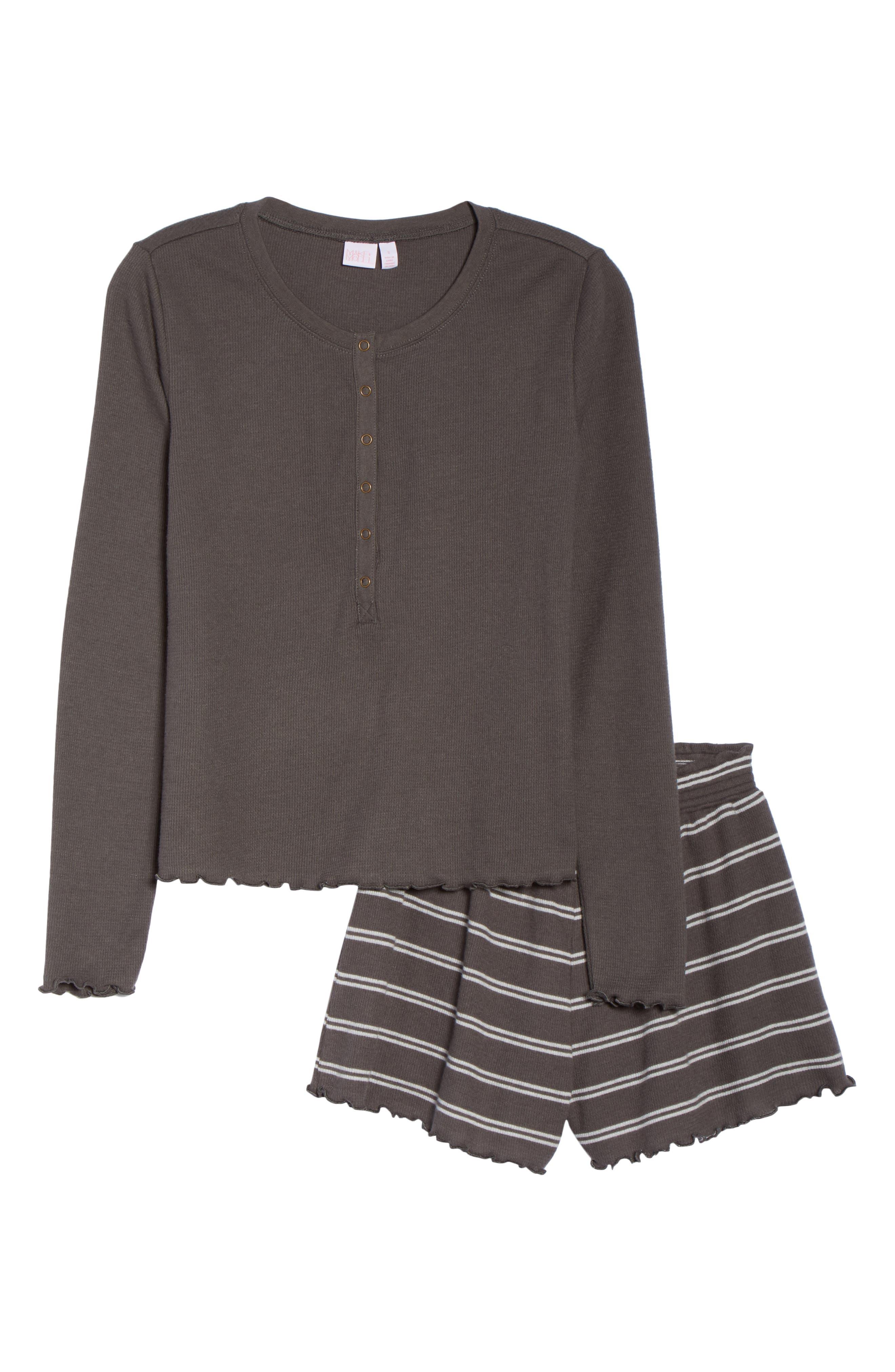 MAKE + MODEL,                             You Do You Thermal Short Pajamas,                             Alternate thumbnail 6, color,                             GREY PAVEMENT