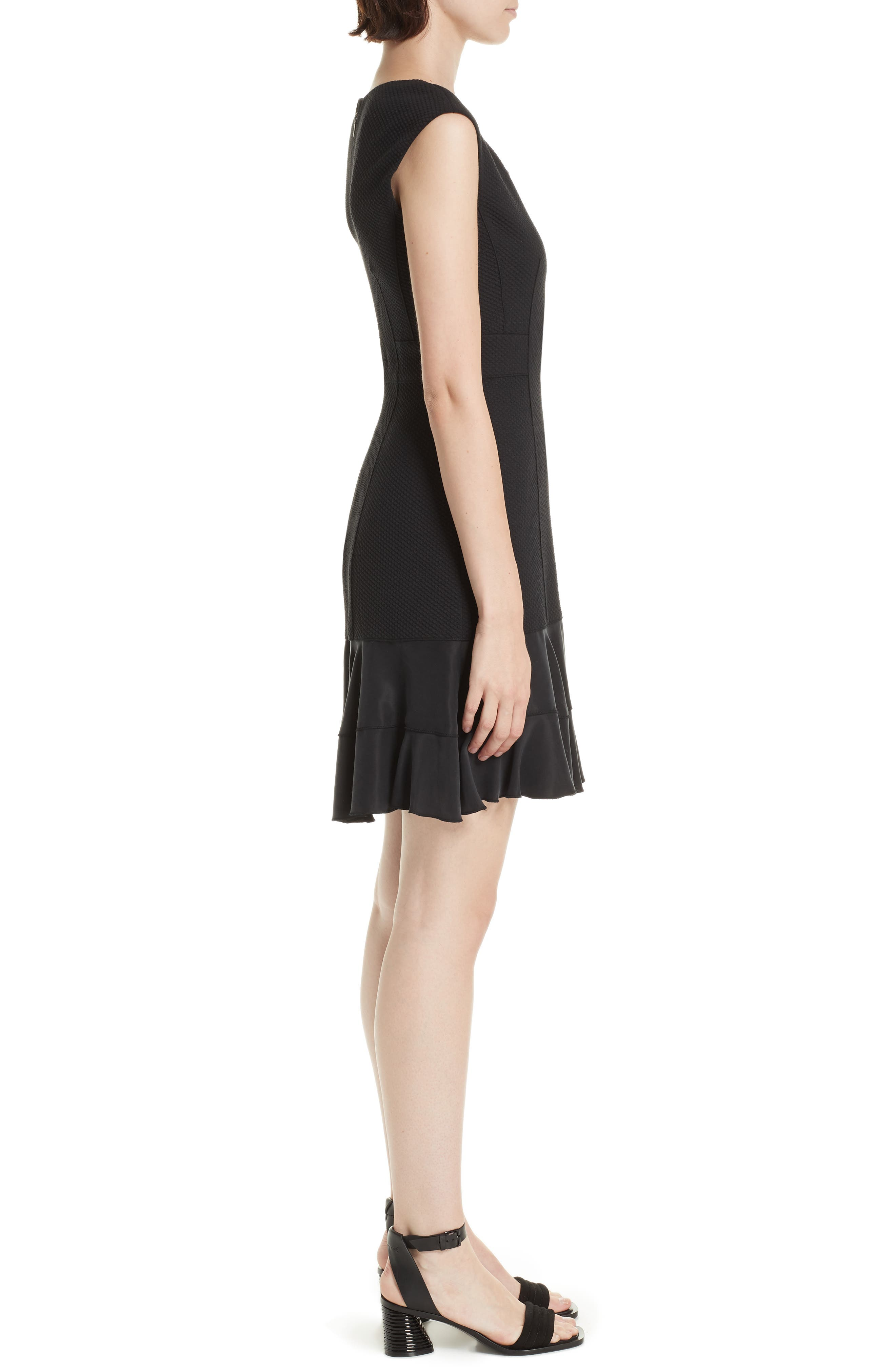 Honeycomb Fit & Flare Dress,                             Alternate thumbnail 3, color,                             BLACK