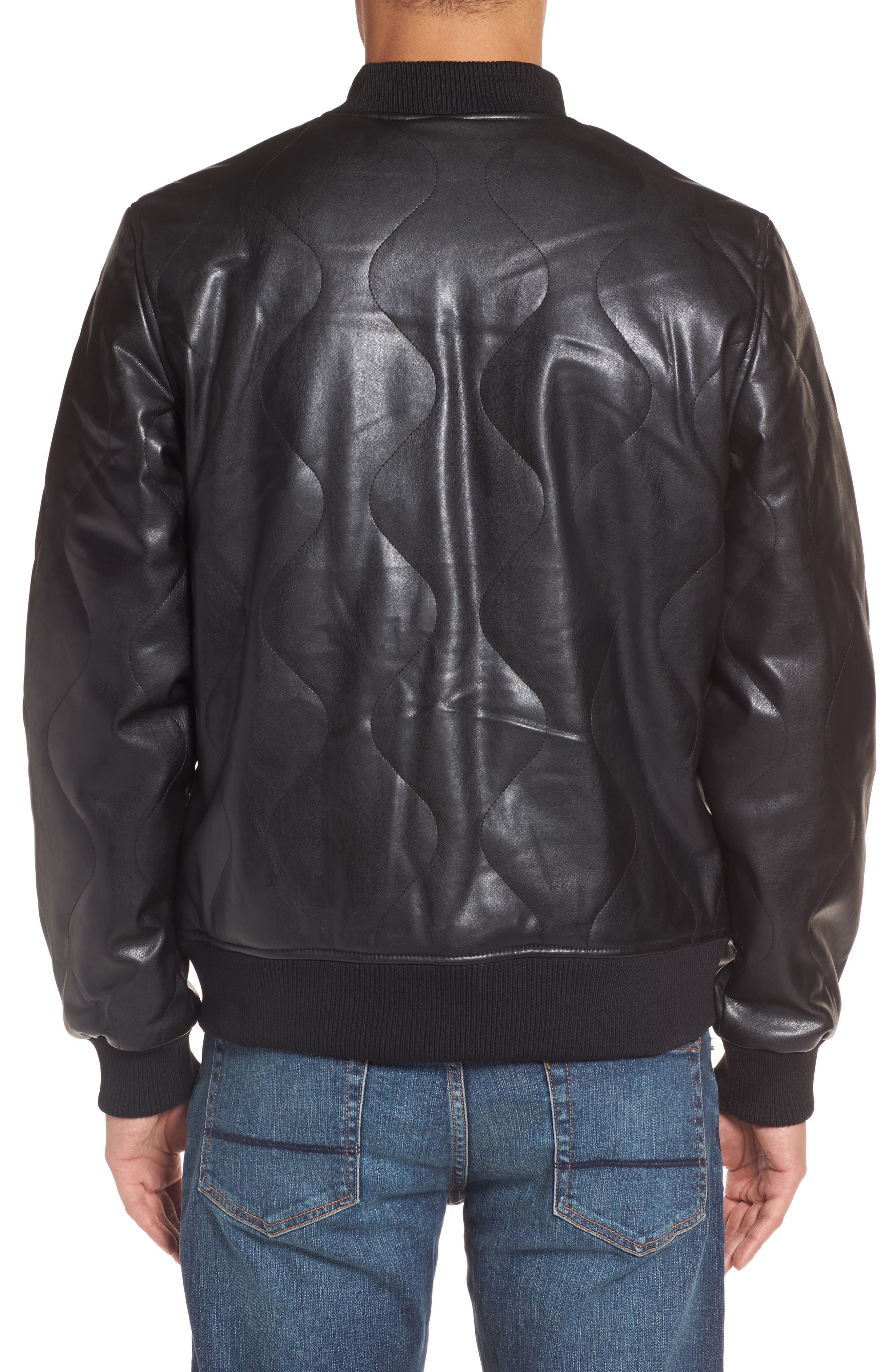 Quilted Faux Leather Bomber Jacket,                             Alternate thumbnail 2, color,                             001
