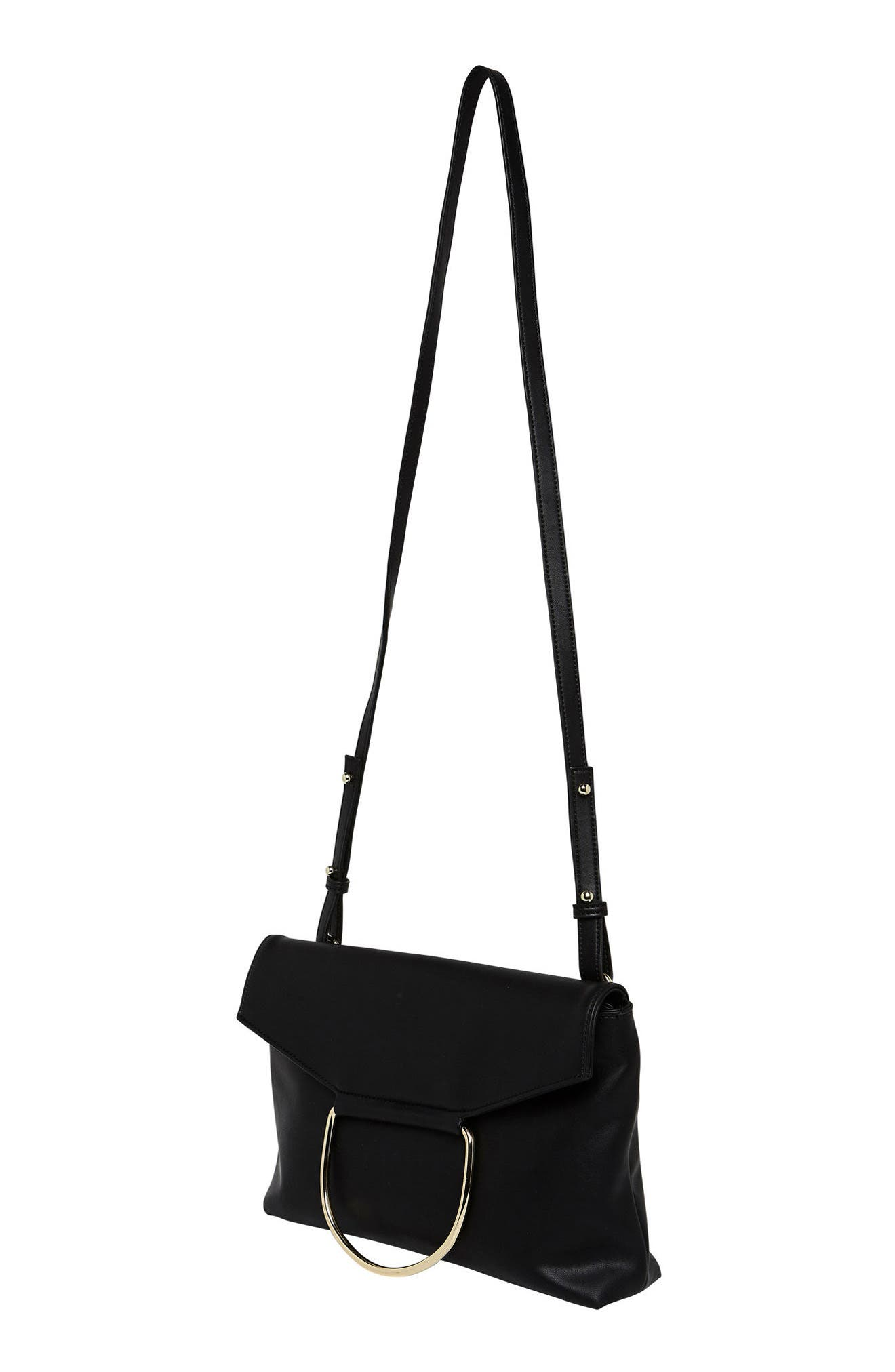 On Your Radar Vegan Leather Foldover Bag,                             Alternate thumbnail 3, color,                             001