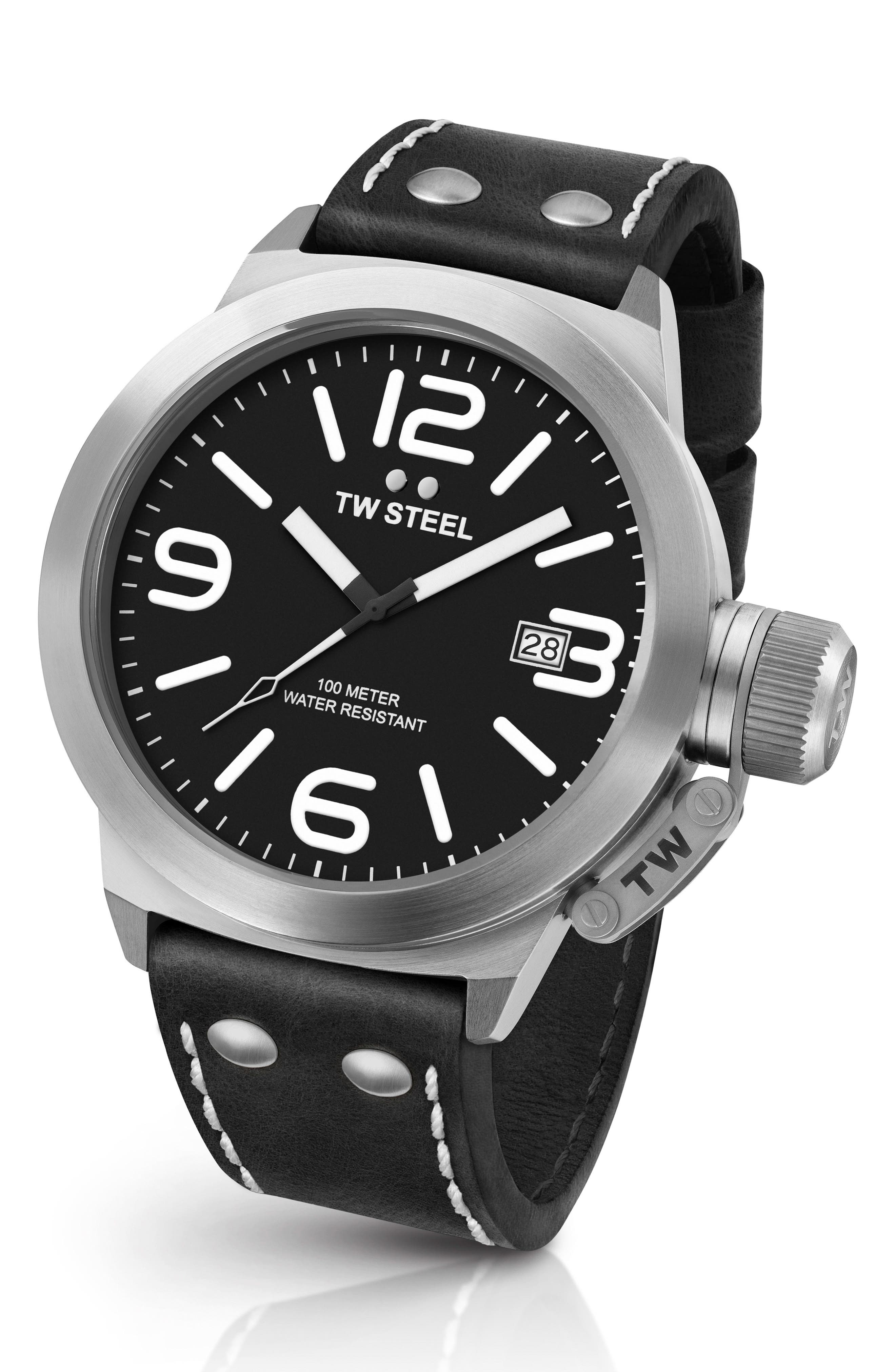 Canteen Leather Strap Watch, 50mm,                         Main,                         color, BLACK/ SILVER