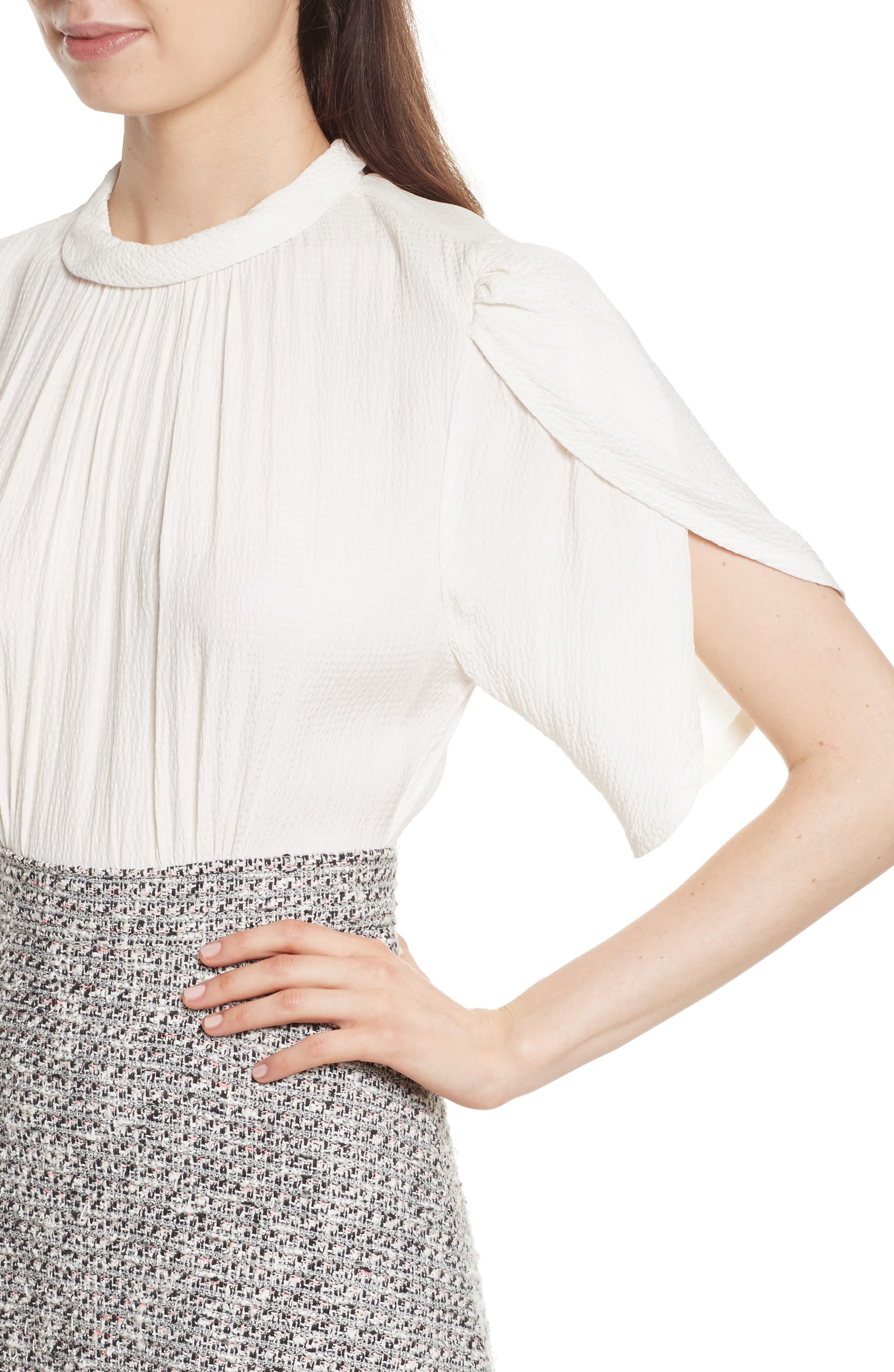 Silk & Tweed A-Line Dress,                             Alternate thumbnail 4, color,