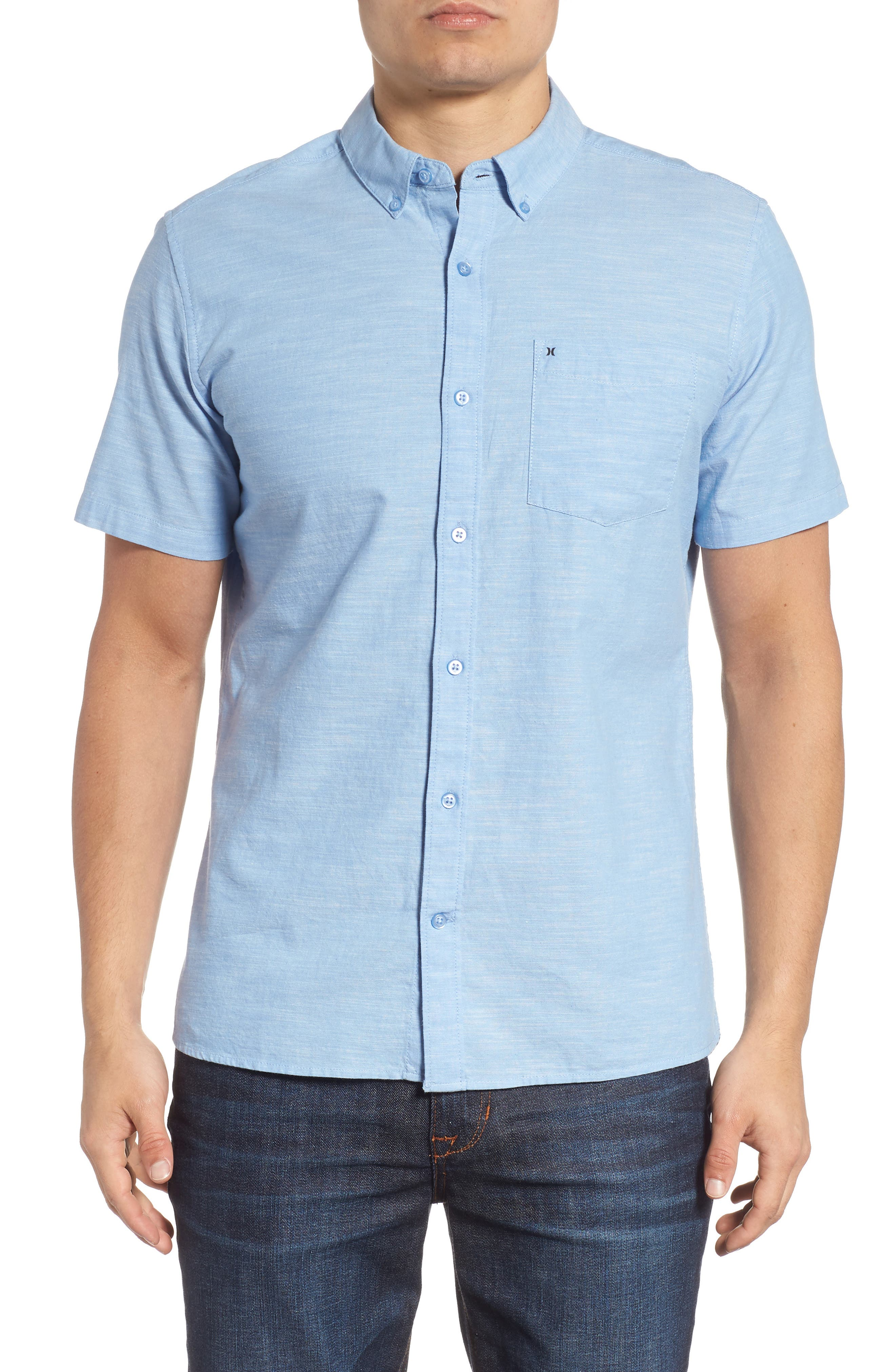 One & Only 2.0 Woven Shirt,                         Main,                         color, BLUE OX