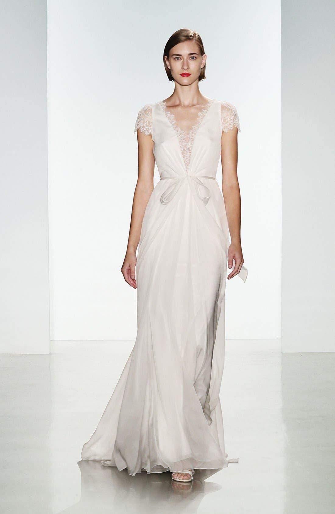 Lainee Silk Chiffon & Lace Cap Sleeve Gown,                             Alternate thumbnail 4, color,                             900
