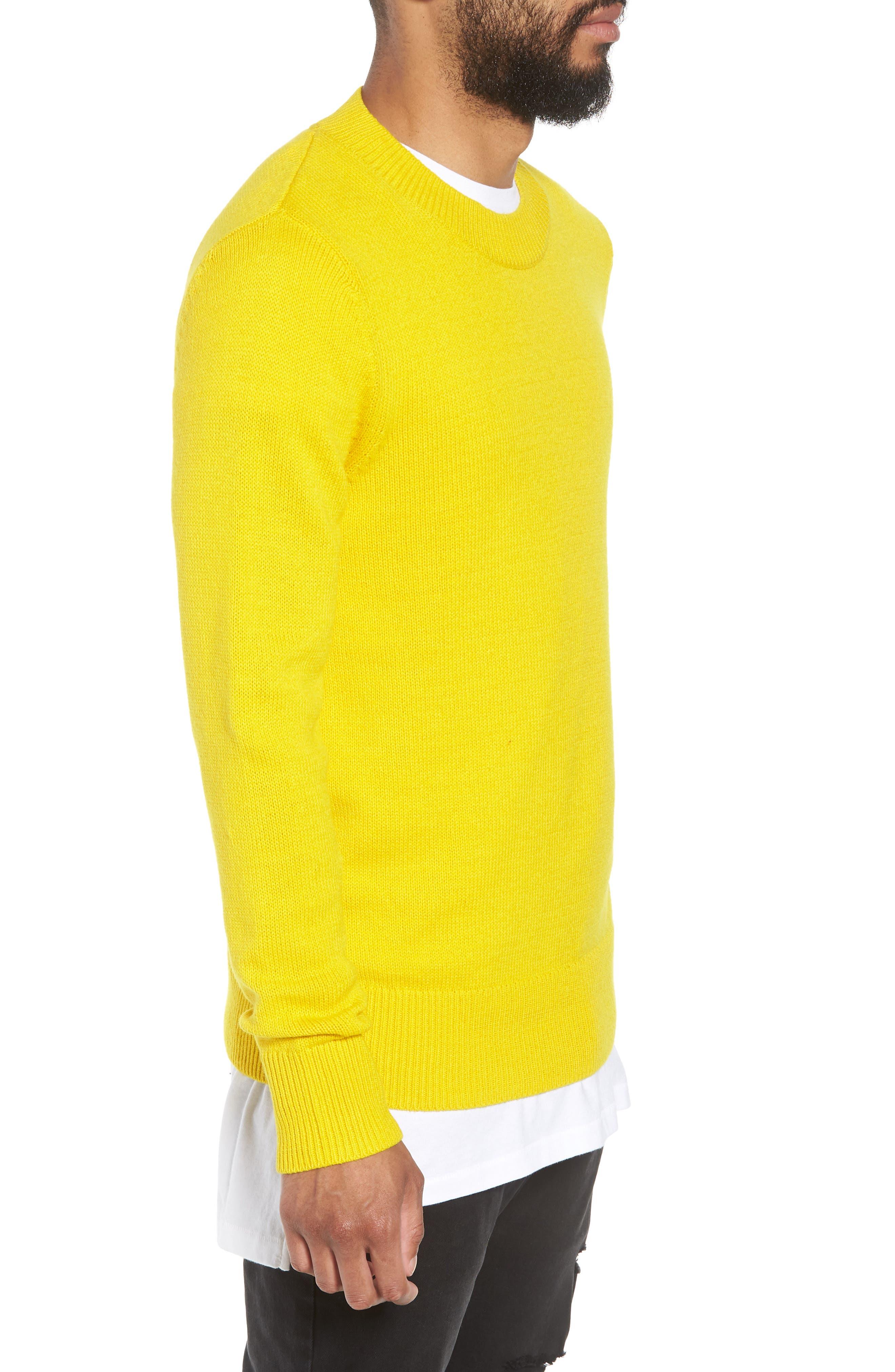 Crewneck Sweater,                             Alternate thumbnail 3, color,                             YELLOW SULPHUR