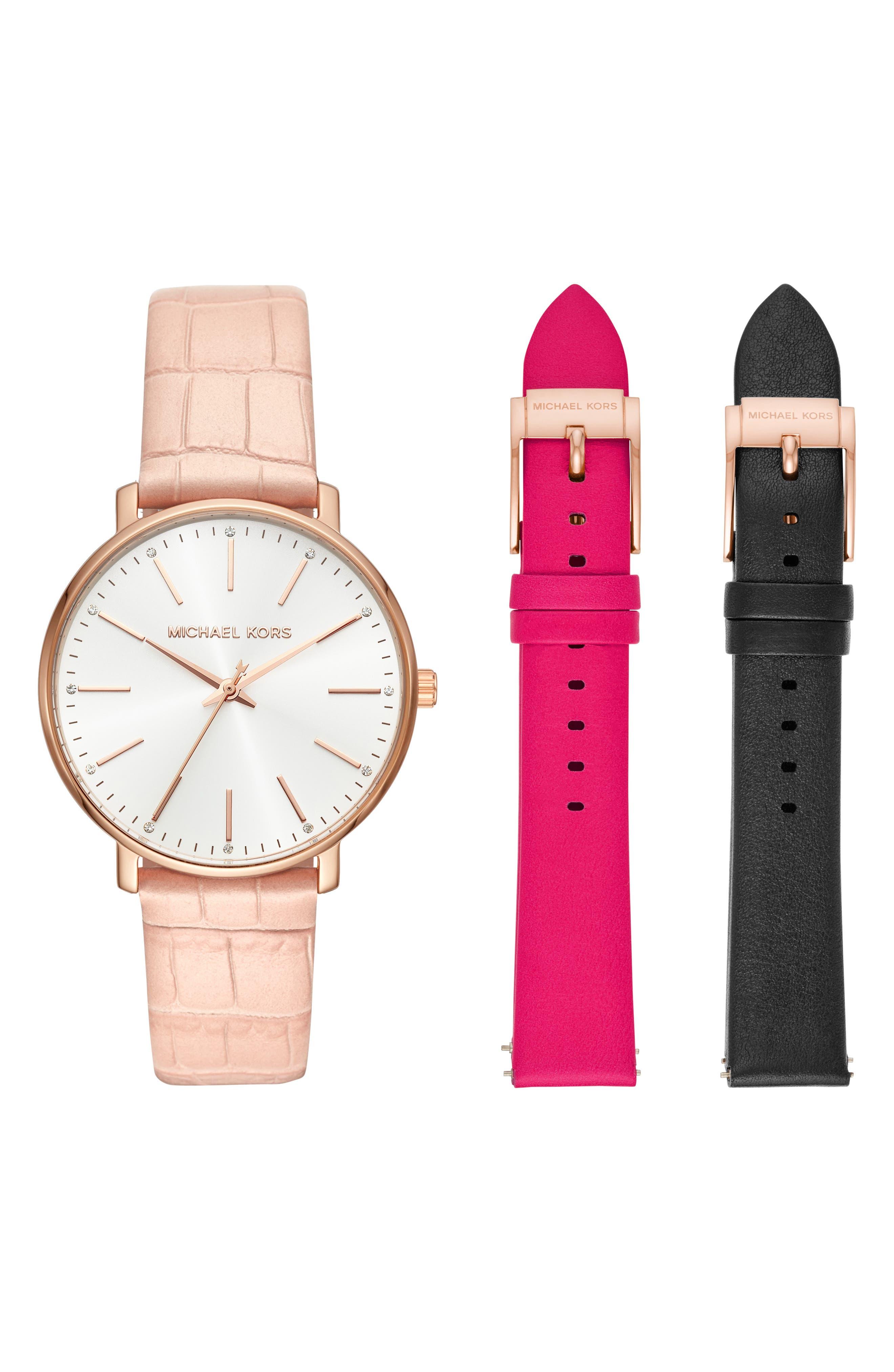 Pyper Leather Strap Watch Set, 38mm, Main, color, 710