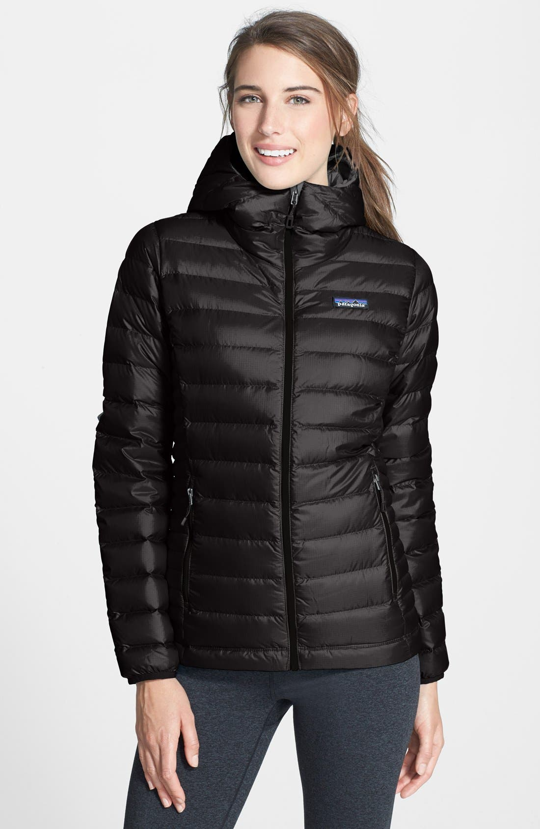 Quilted Water Resistant Down Coat,                         Main,                         color, BLACK