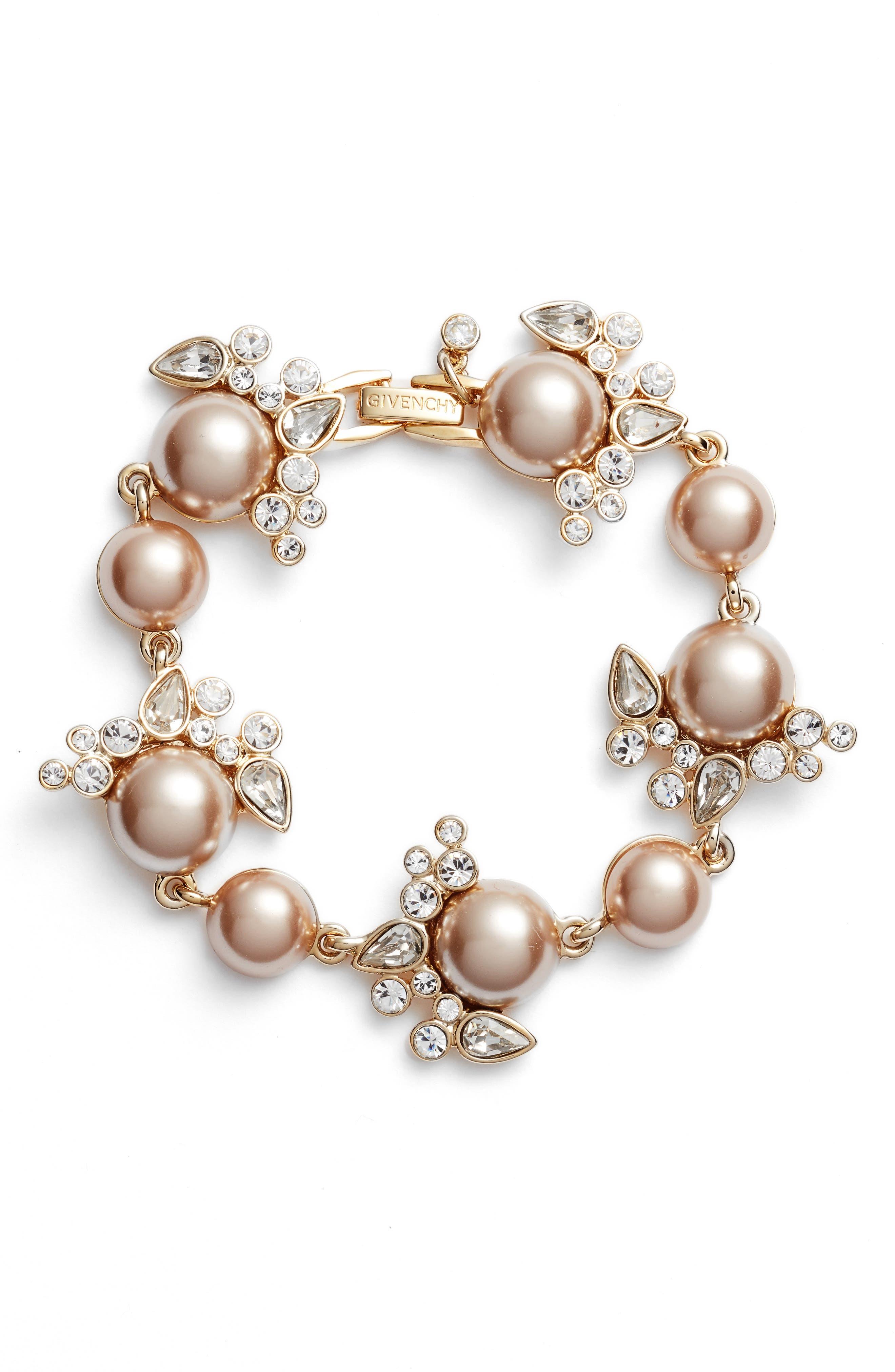 Imitation Pearl & Crystal Bracelet,                             Main thumbnail 2, color,