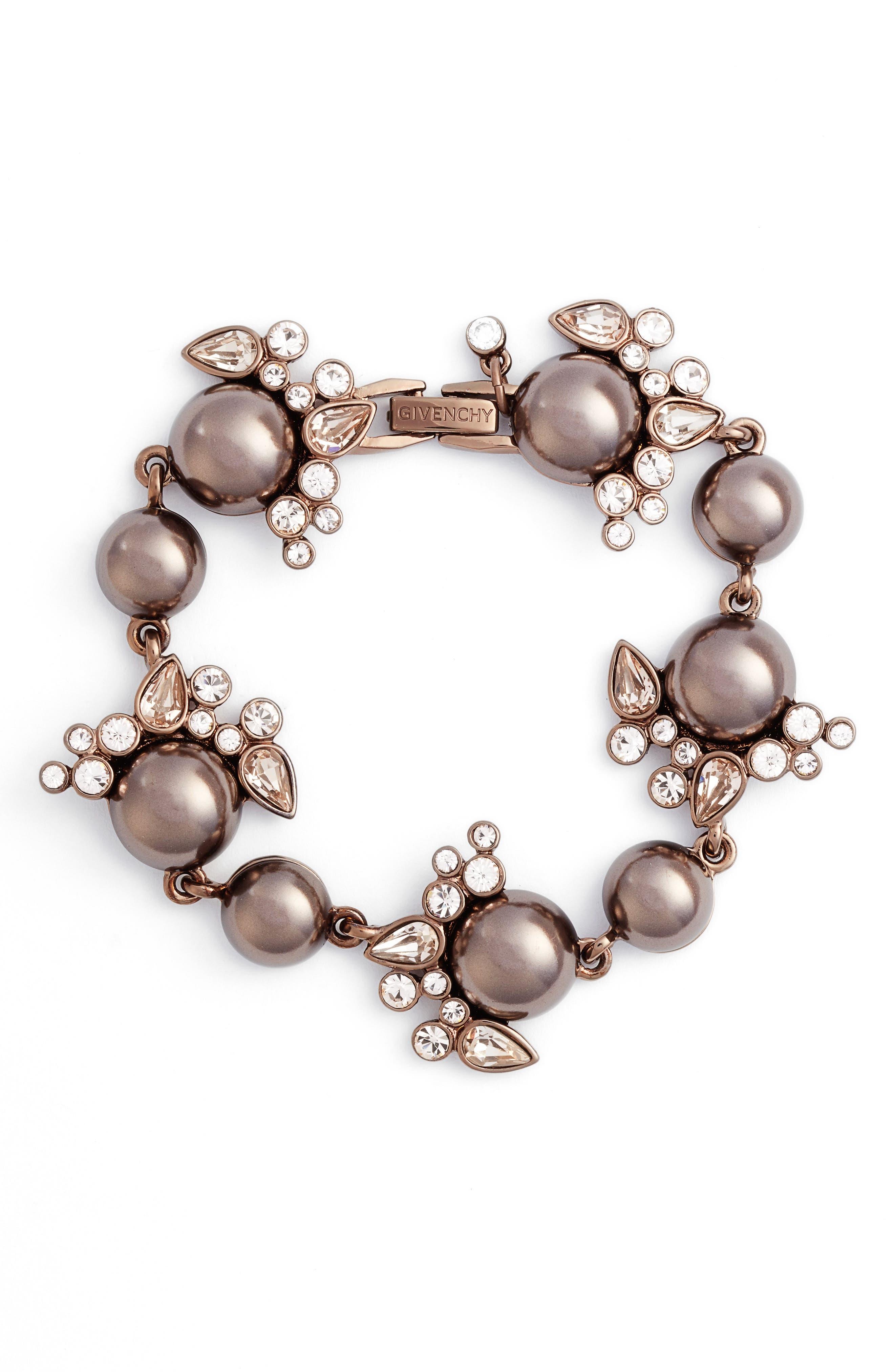 Imitation Pearl & Crystal Bracelet,                             Main thumbnail 1, color,                             200