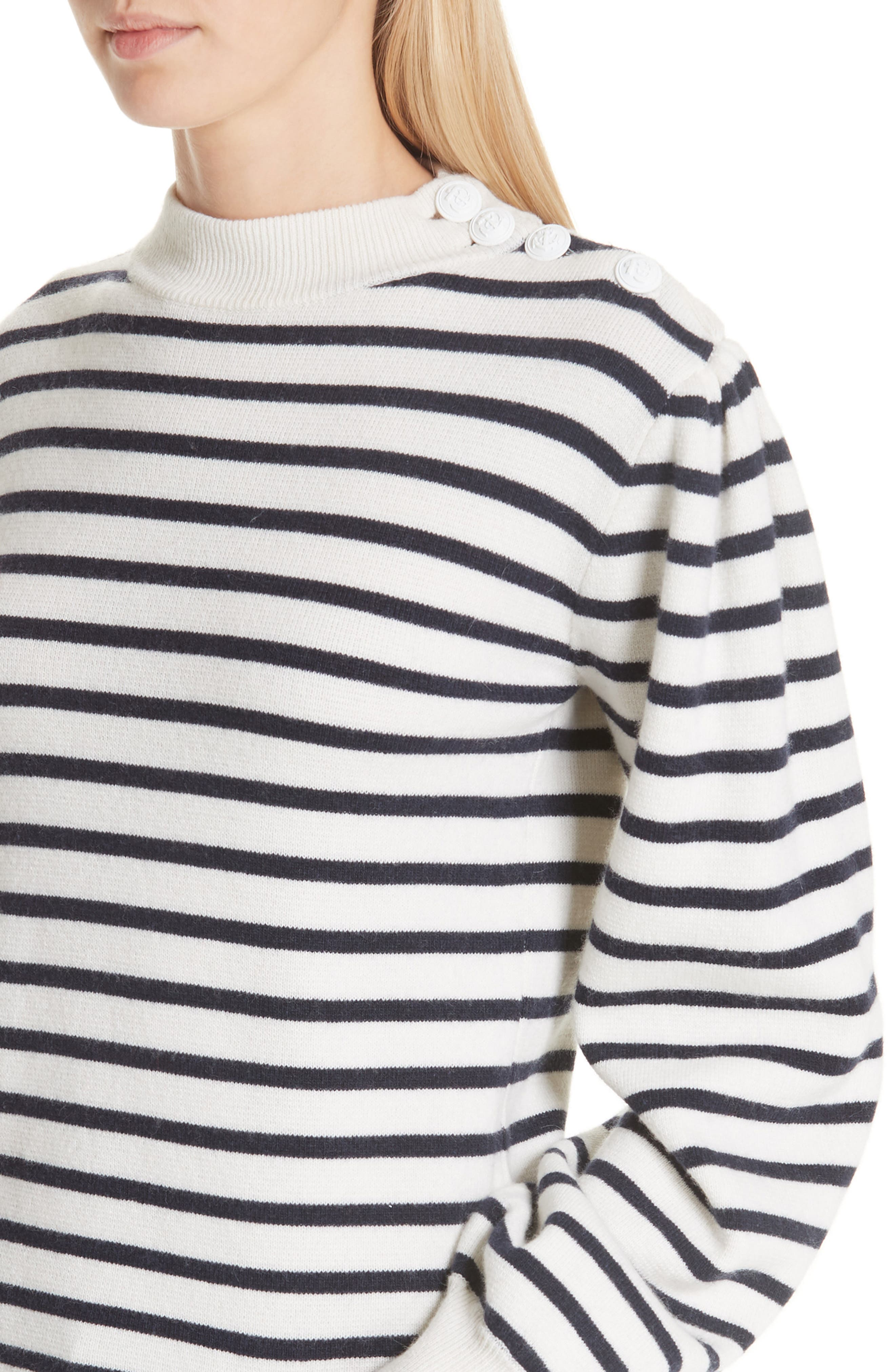 Stripe Knit Sweater,                             Alternate thumbnail 4, color,                             EGRET 135