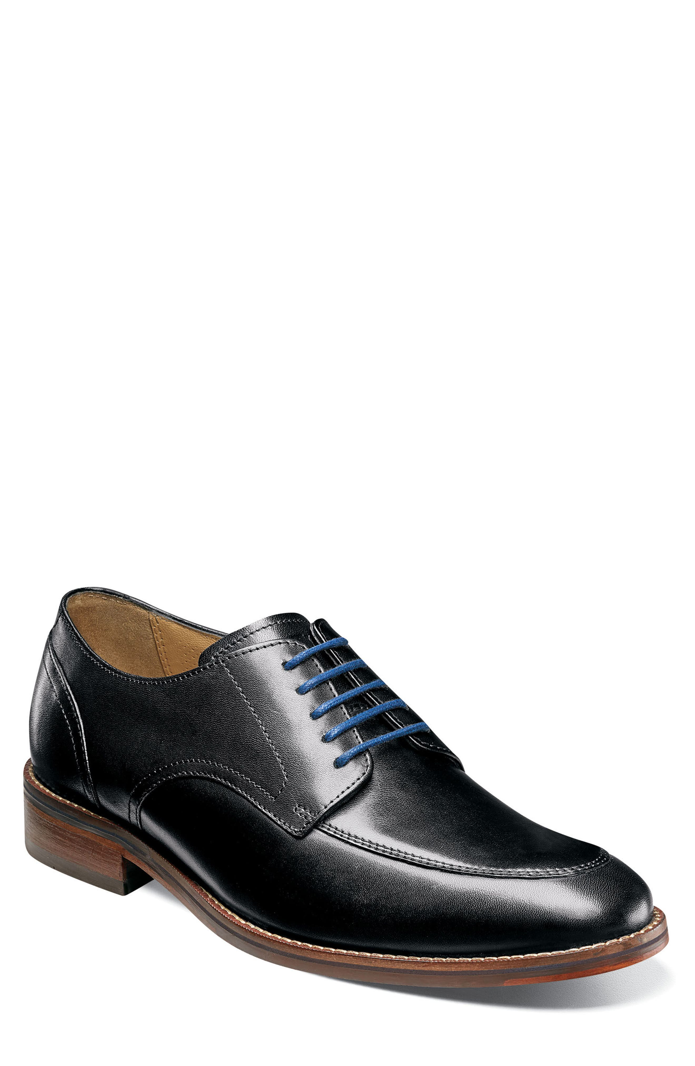 Salerno Apron Toe Derby,                             Main thumbnail 1, color,                             BLACK LEATHER