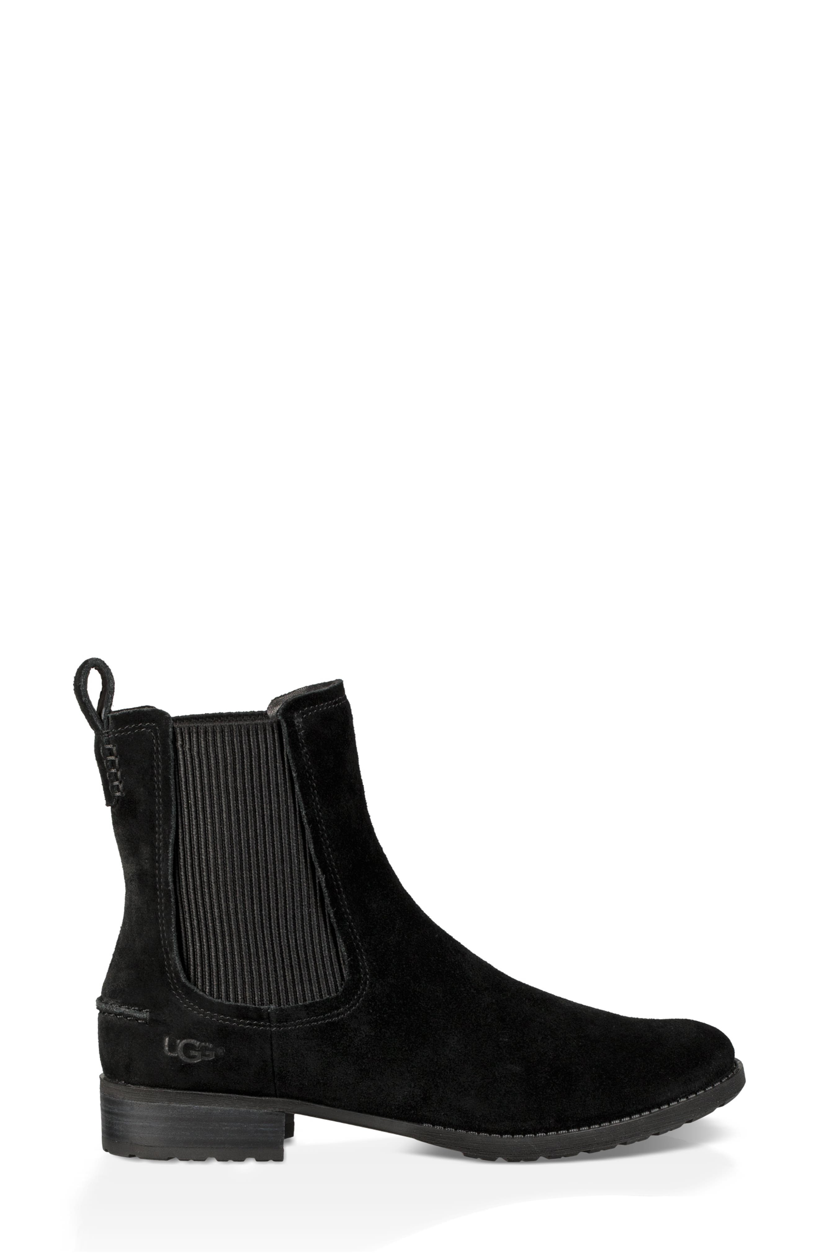 Hillhurst Chelsea Boot,                             Alternate thumbnail 3, color,                             BLACK SUEDE