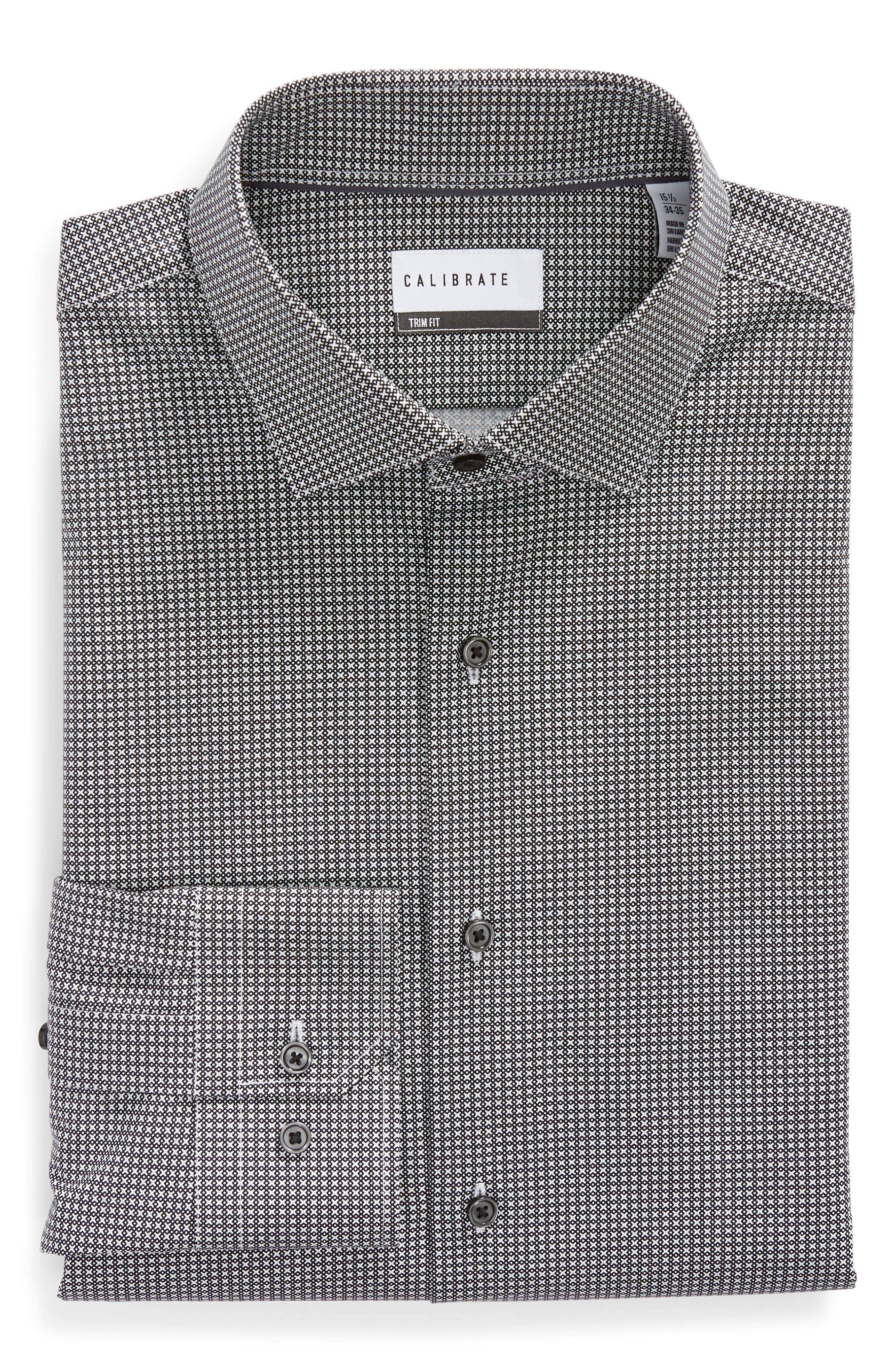 Trim Fit Stretch Non-Iron Geometric Dress Shirt,                             Alternate thumbnail 5, color,                             BLACK ROCK