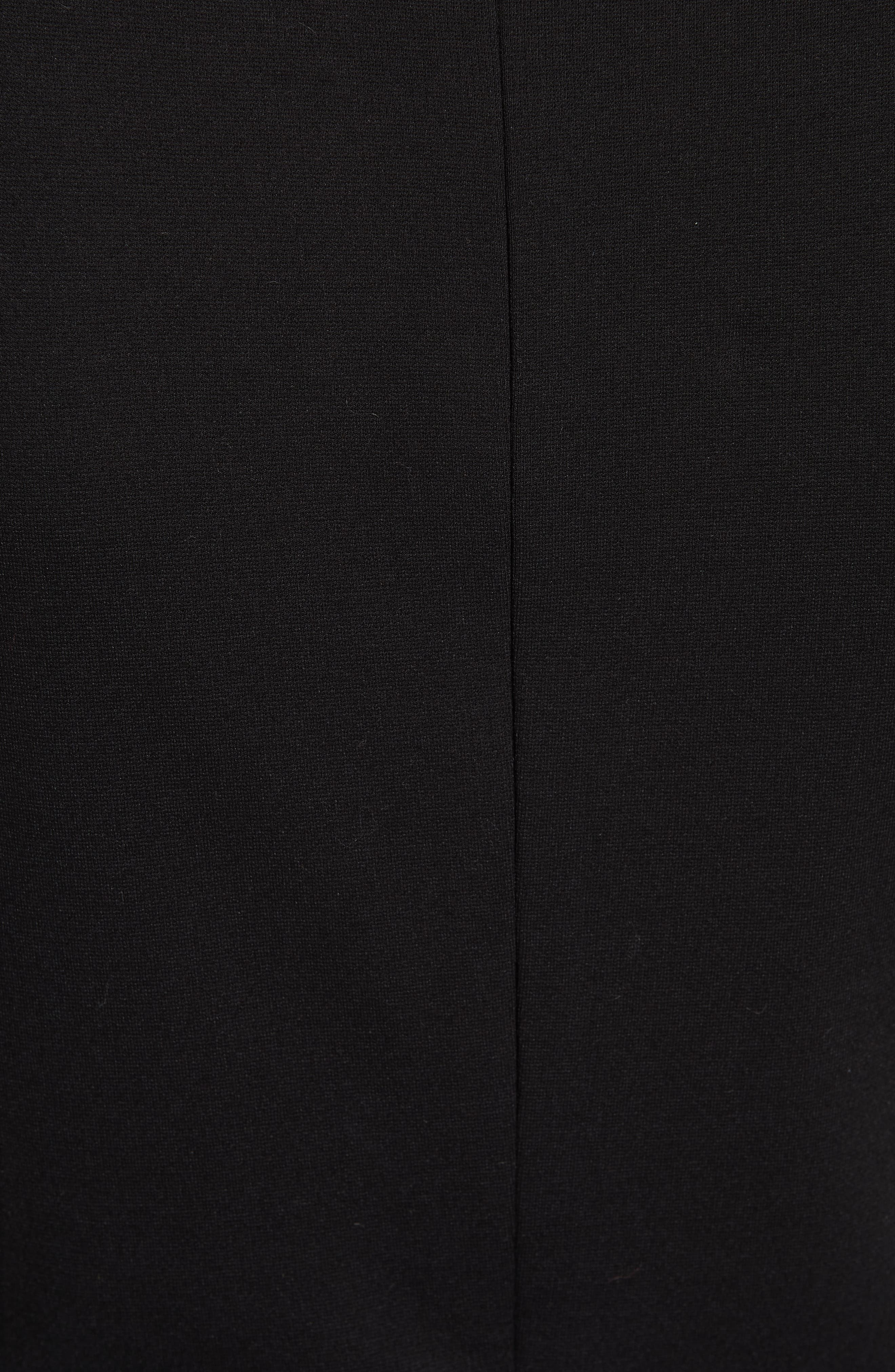 embroidered ponte fit & flare dress,                             Alternate thumbnail 5, color,                             BLACK
