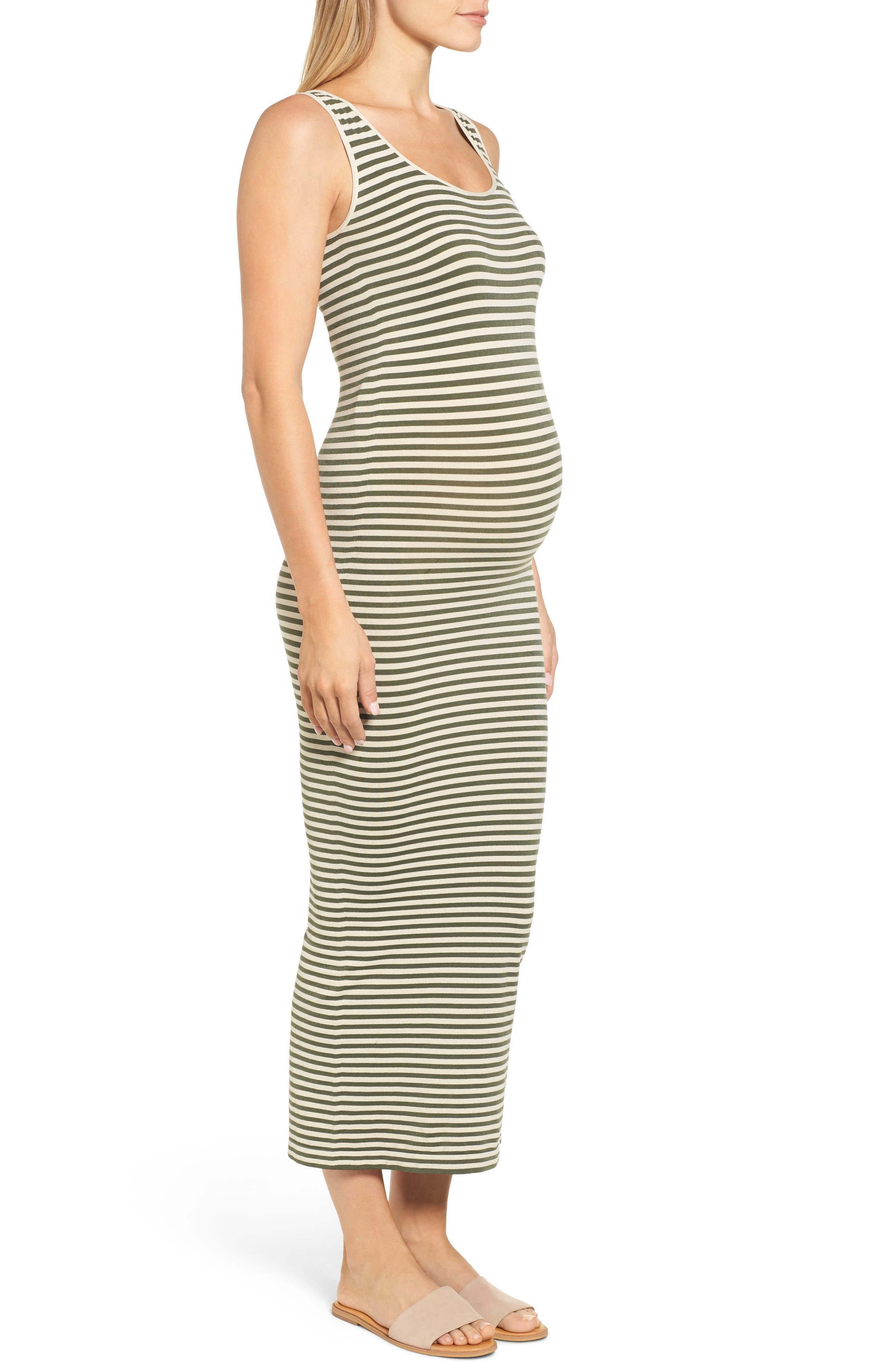 Micro Stripe Maternity Dress,                             Alternate thumbnail 3, color,                             300