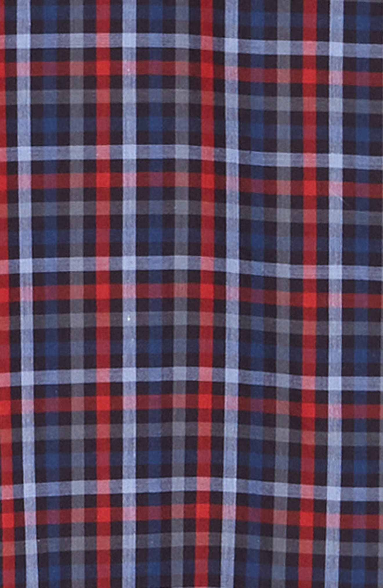Trim Fit Sport Shirt,                             Alternate thumbnail 6, color,                             RED - BLUE MULTI CHECK