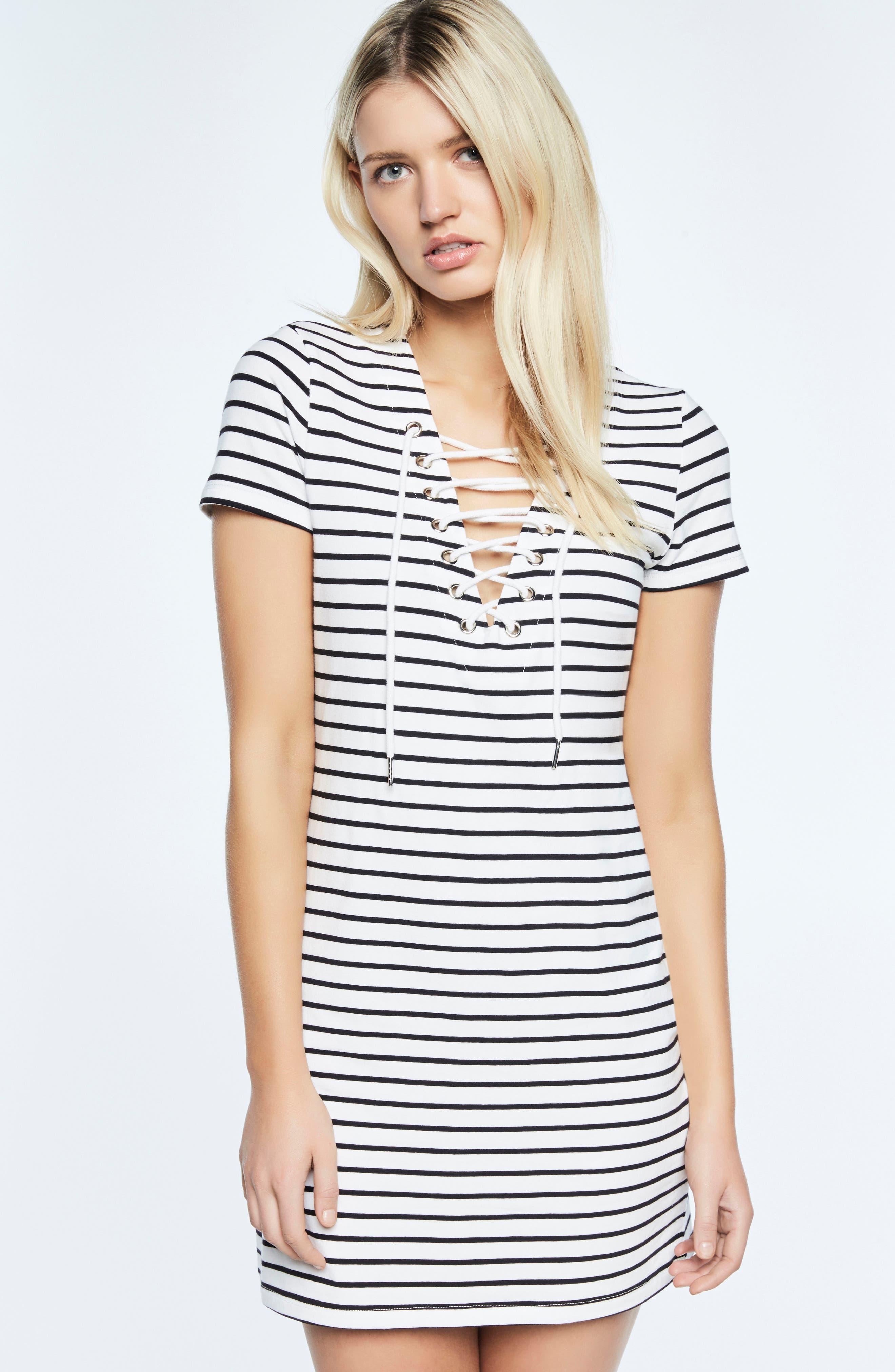 Stripe Shift Dress,                             Alternate thumbnail 6, color,                             002