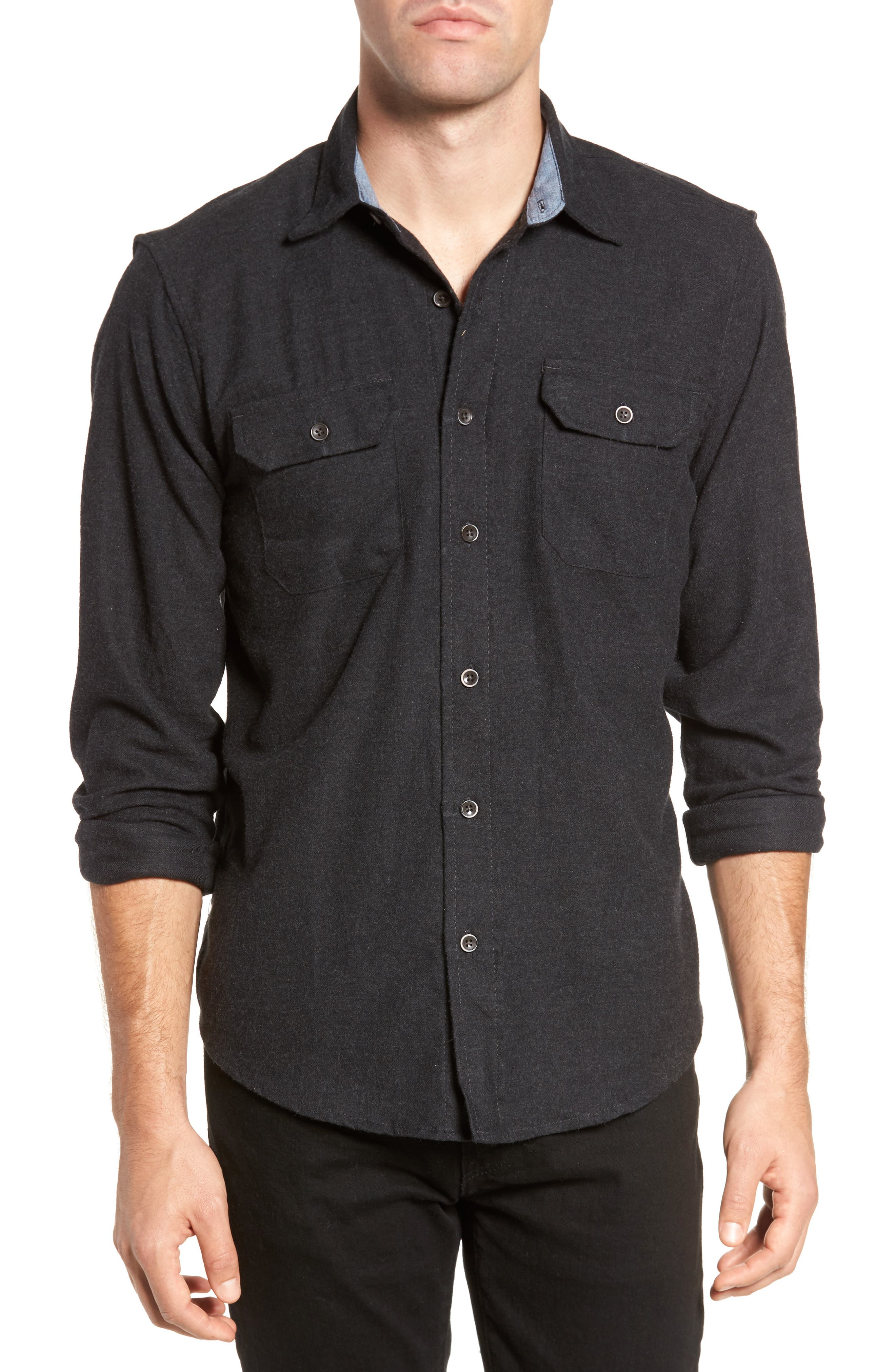 Heather Flannel Shirt,                         Main,                         color, 013