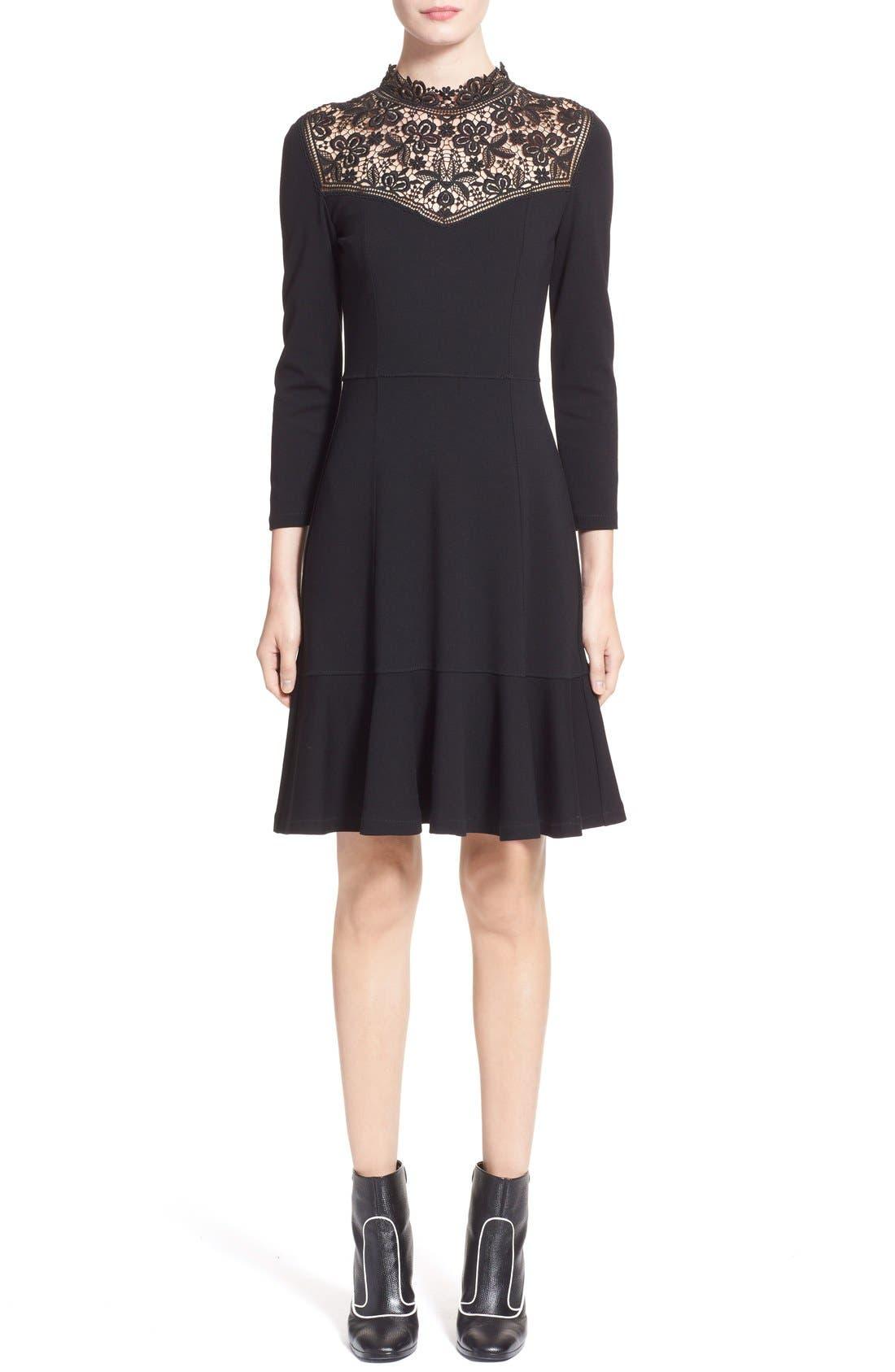 'Rieko' Lace Inset Jersey Dress,                             Main thumbnail 1, color,                             001