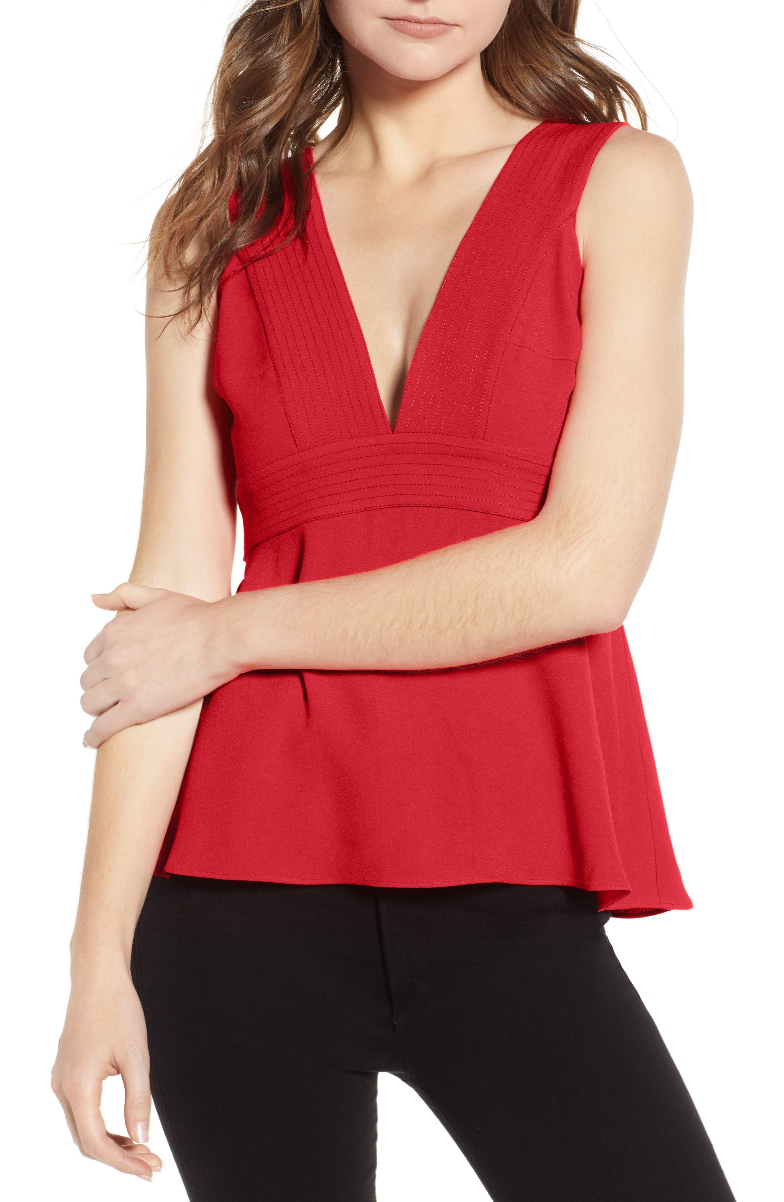 Seamed Tank,                         Main,                         color, RED TOMATO