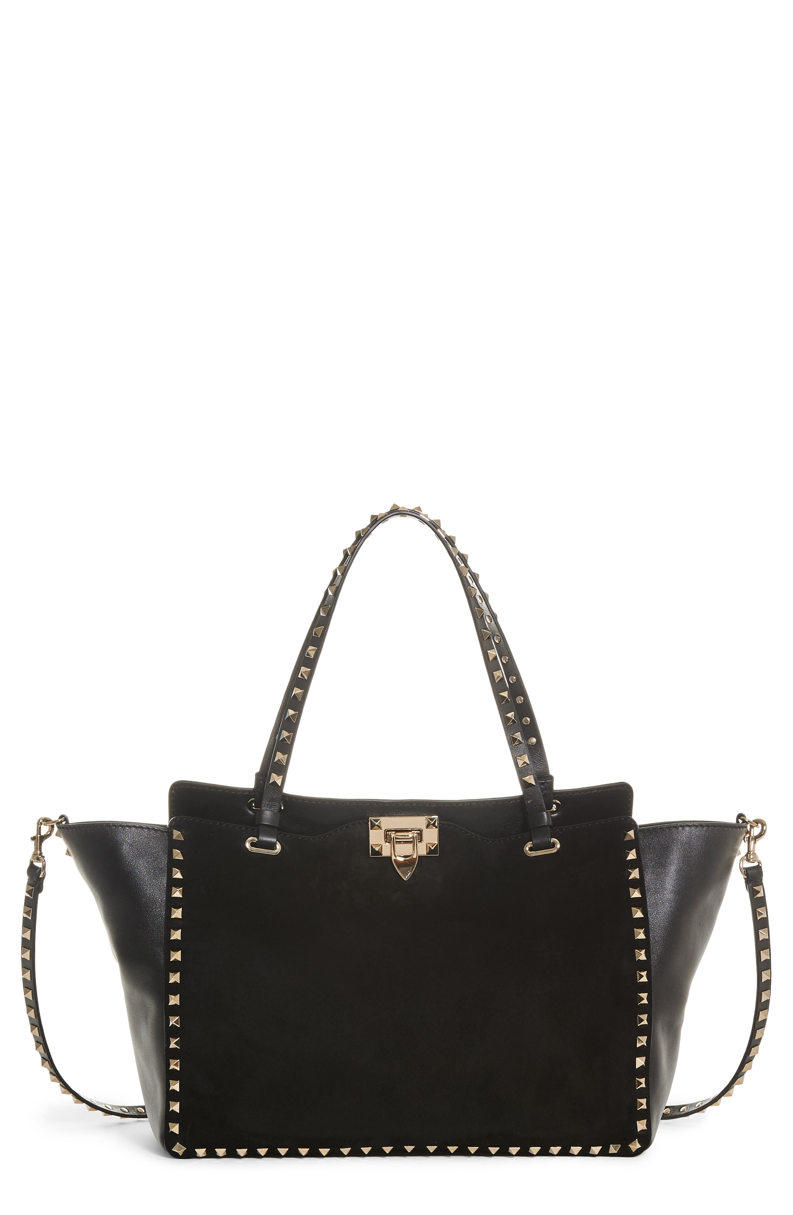 Medium Rockstud Suede & Leather Tote,                             Main thumbnail 1, color,                             001