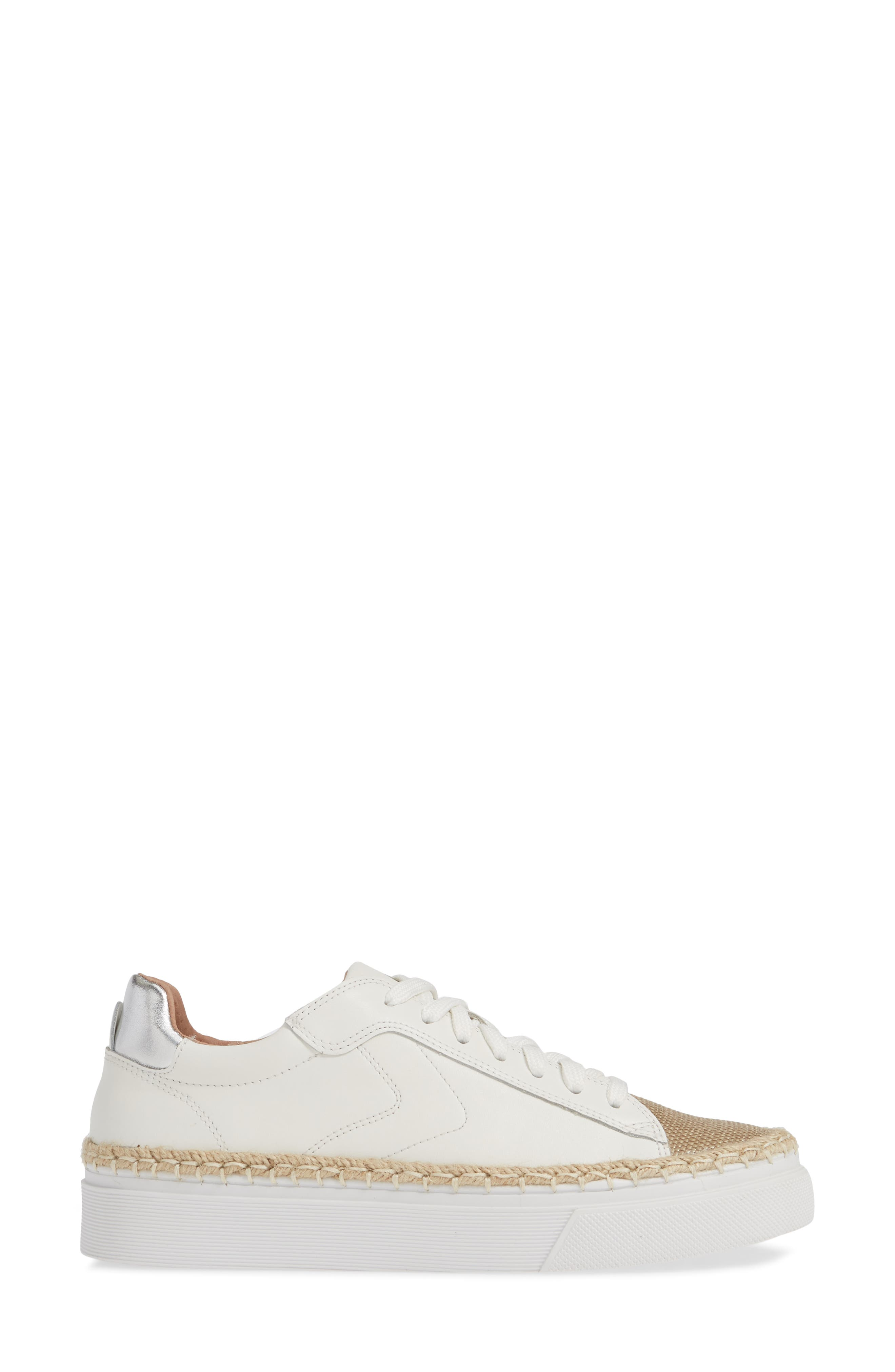 CASLON<SUP>®</SUP>,                             Caleb Platform Sneaker,                             Alternate thumbnail 3, color,                             WHITE LEATHER/ RAFFIA