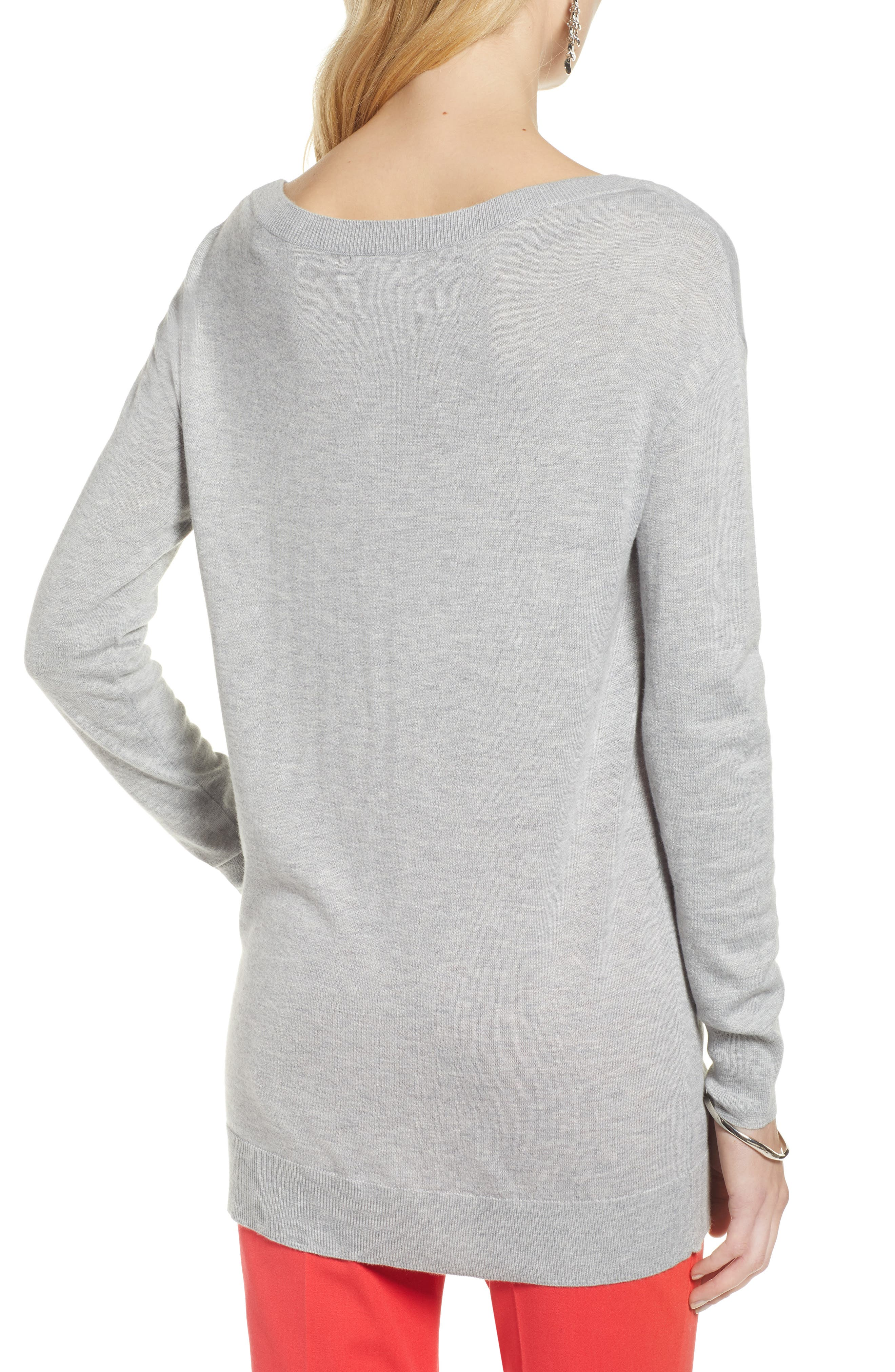 Boatneck Tunic Sweater,                             Alternate thumbnail 2, color,                             GREY HEATHER